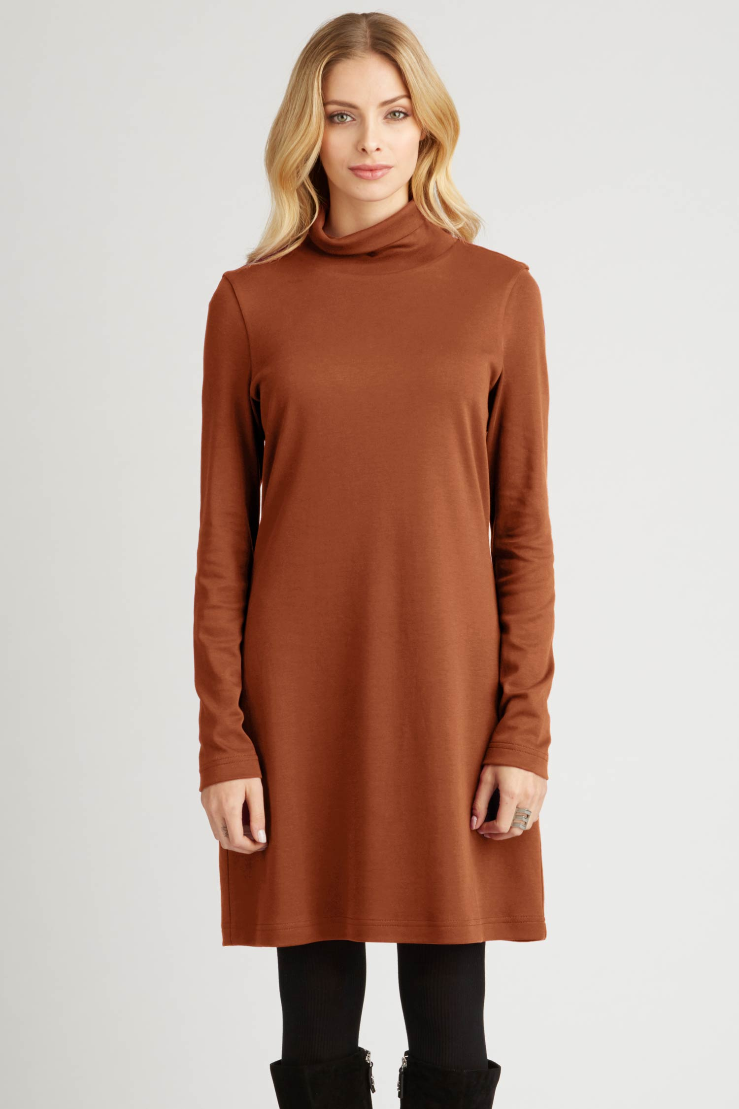 Womens Turtleneck Dress in Brown | Slow Fashion