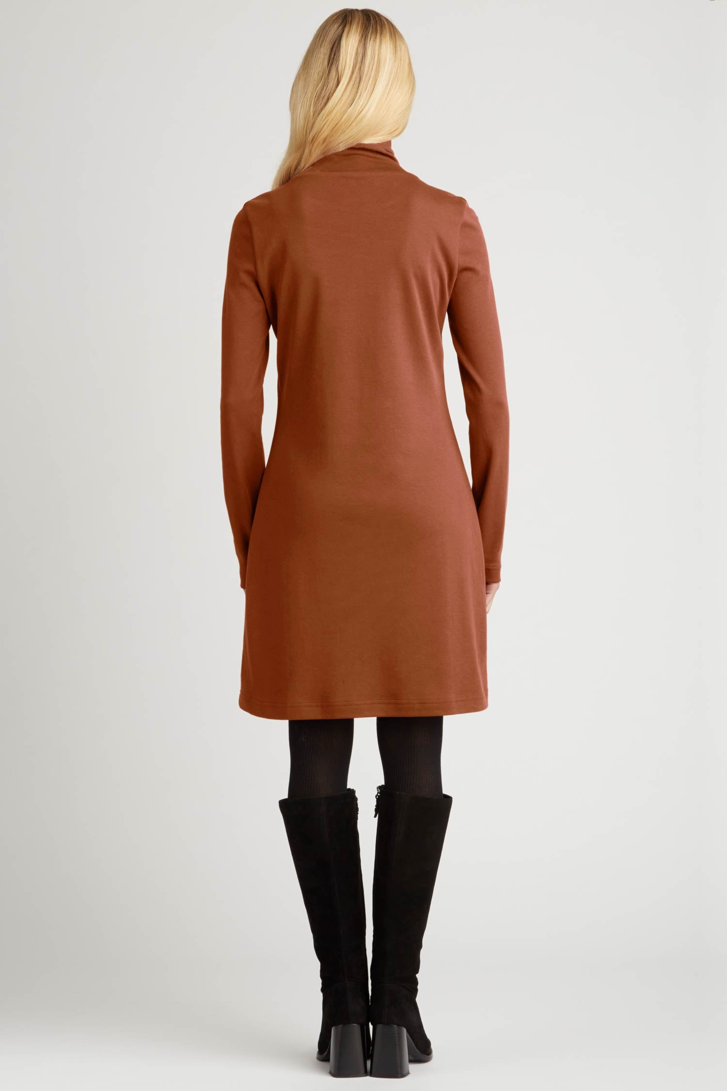 Womens Turtleneck Dress in Brown | Organic Cotton Clothing