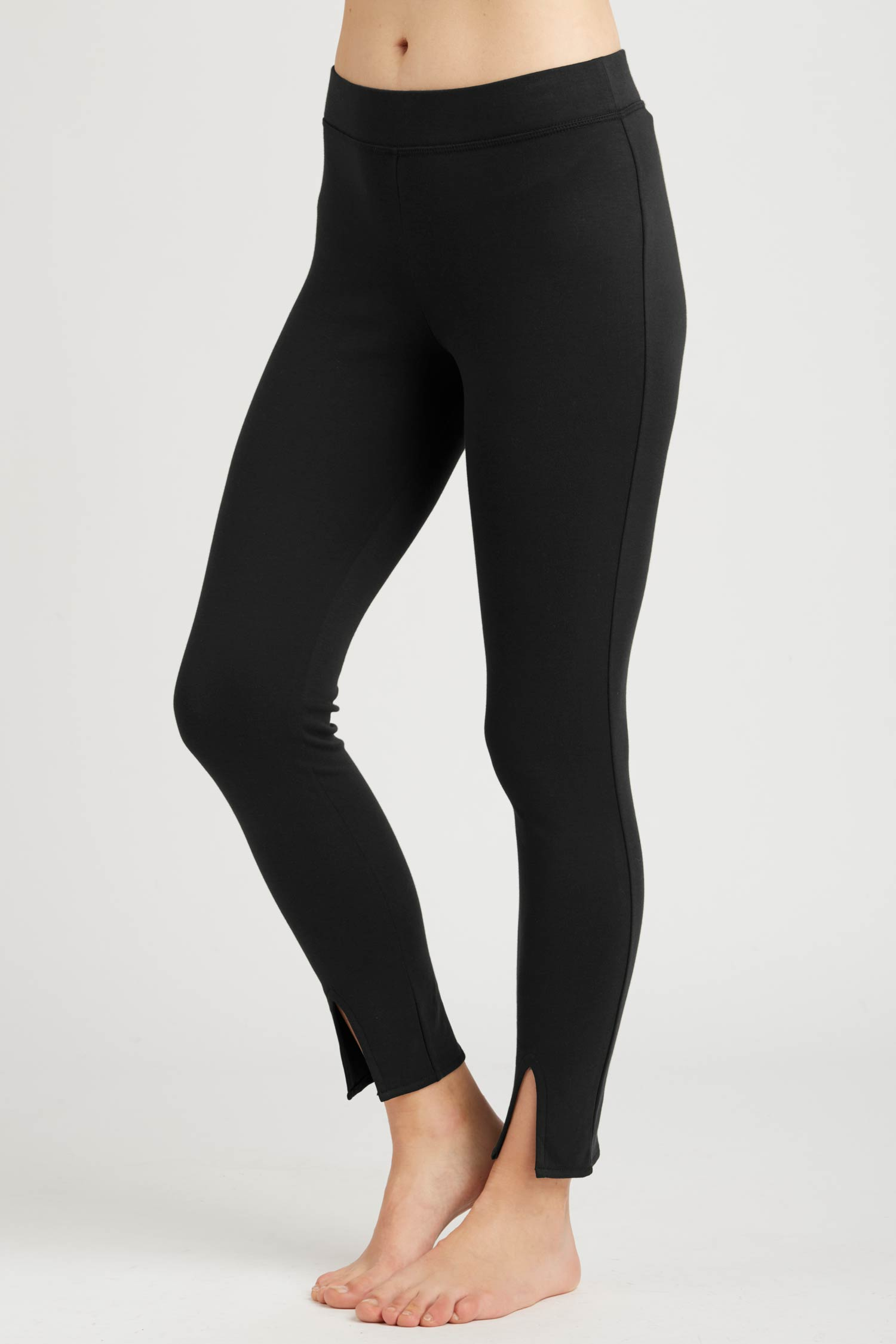 Womens Leggings Black | Ankle Slit Pant | Organic Cotton Clothing