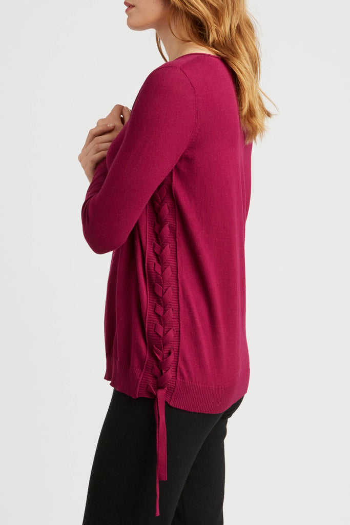 Womens Side Lace Up Pullover Sweater in Dark Pink | Organic Cotton Clothing