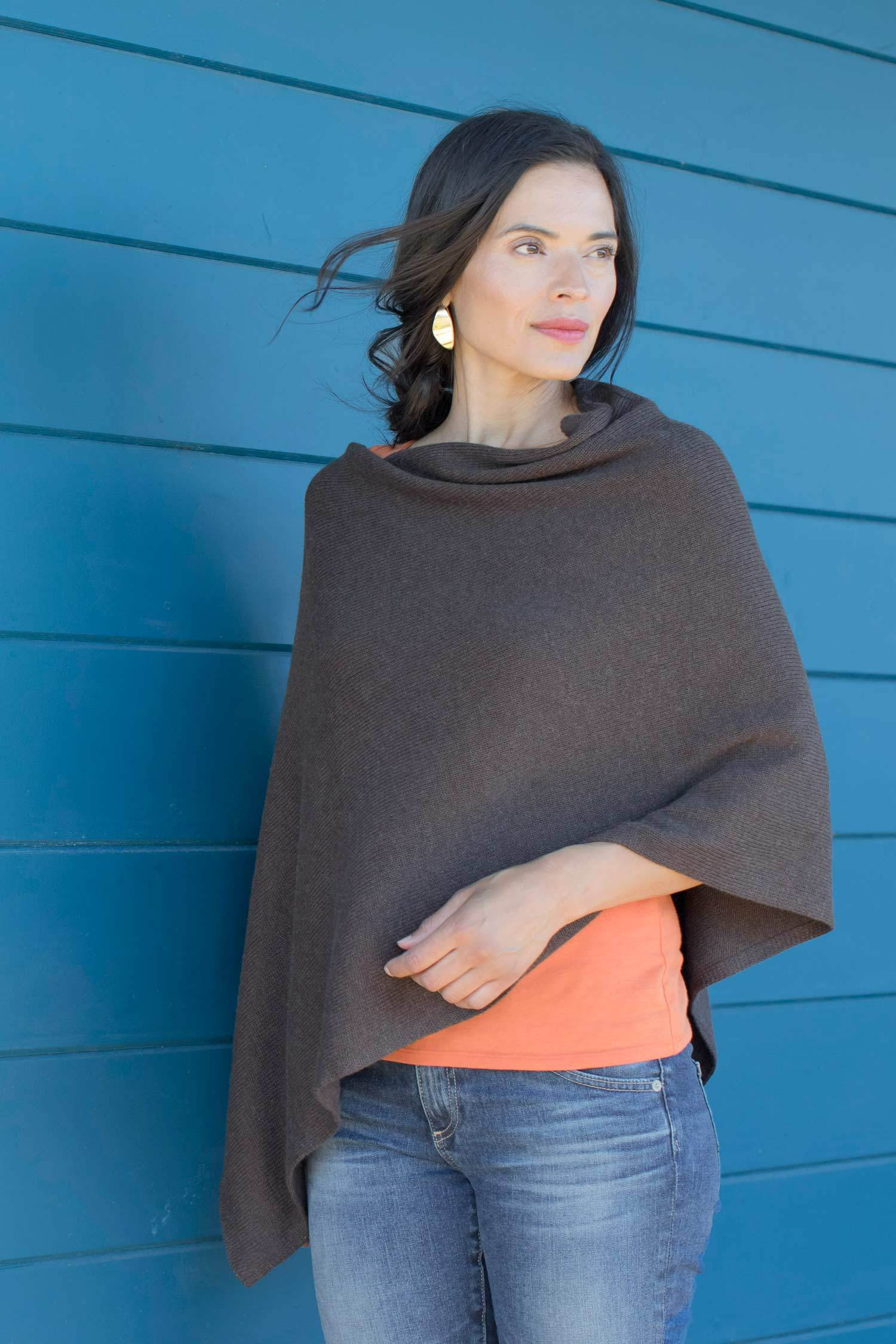 Womens Organic Cotton Knit Ponchos | Stone Brown
