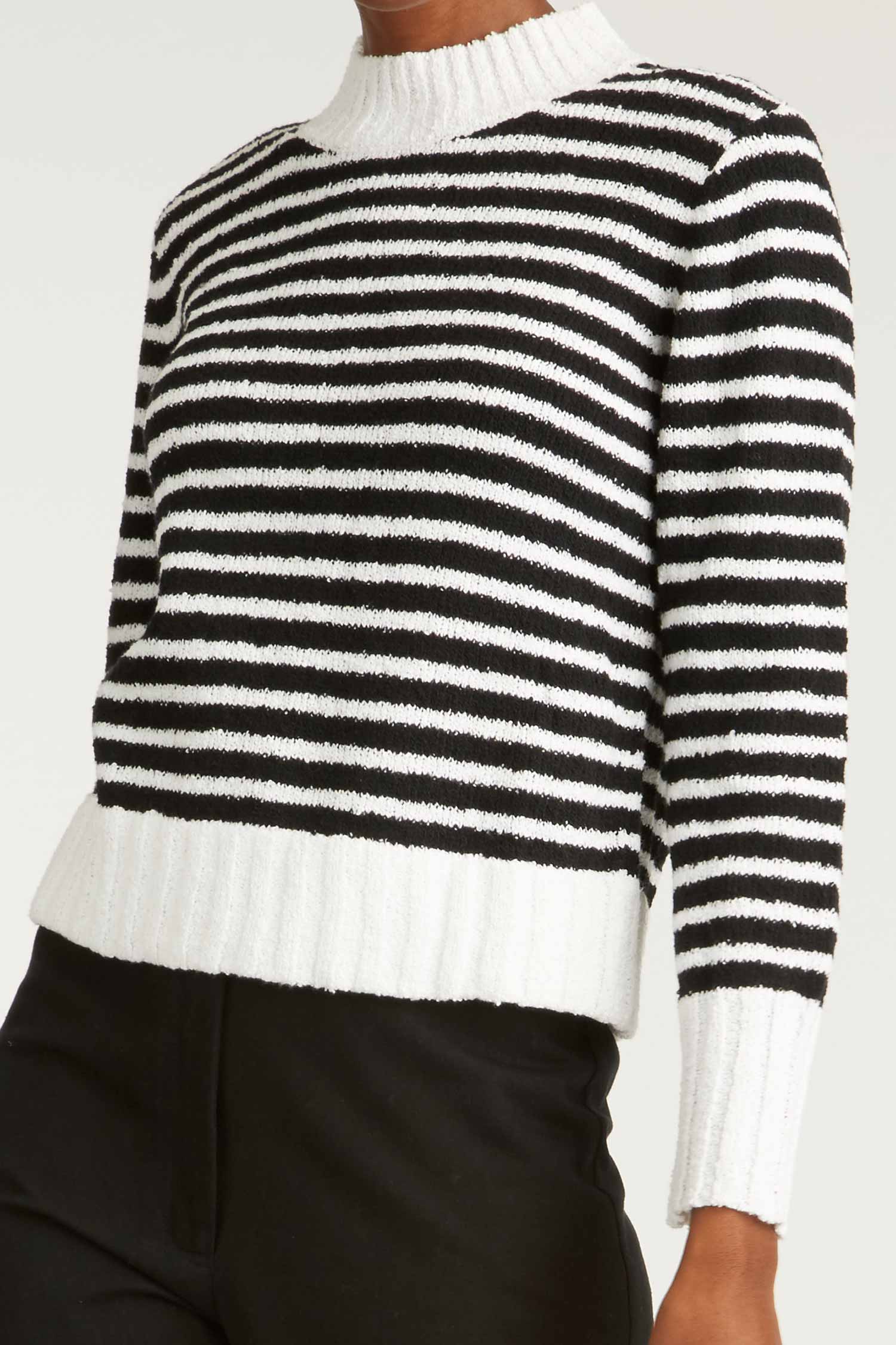 2aa213e47 ... Boucle Pullover | Indigenous Womens Organic Cotton Sweater | Black  White Stripe Pullover | Indigenous ...