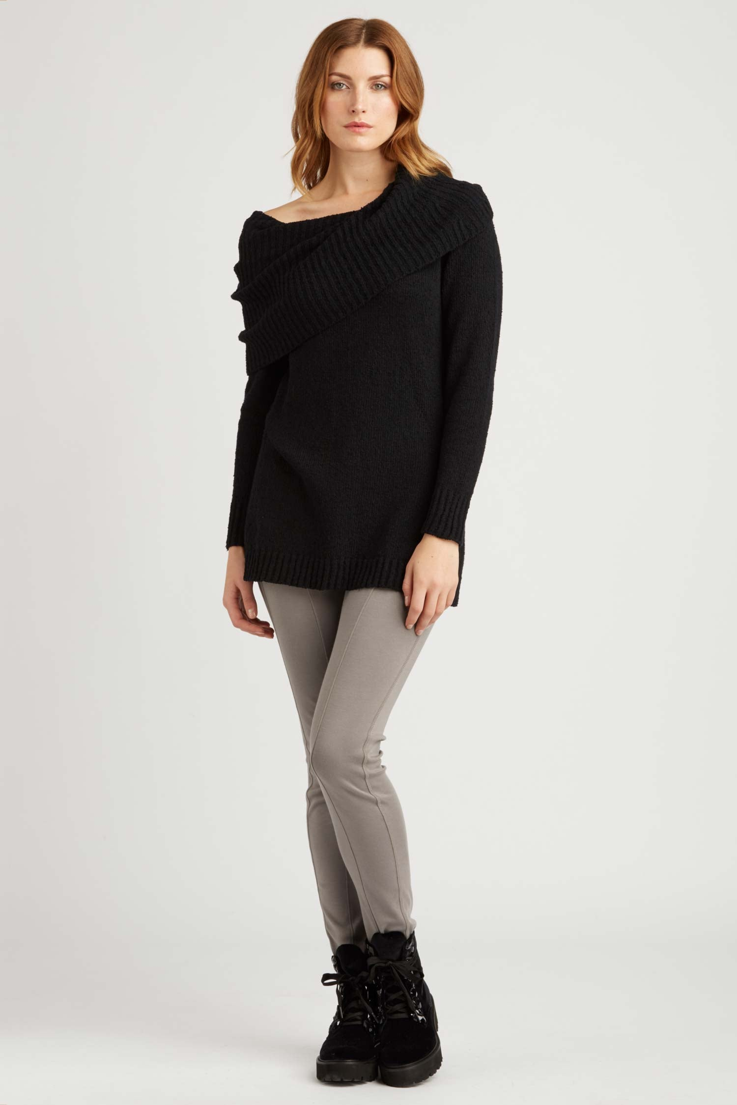 Womens Organic Cotton Sweater | Bardot Pullover | Black