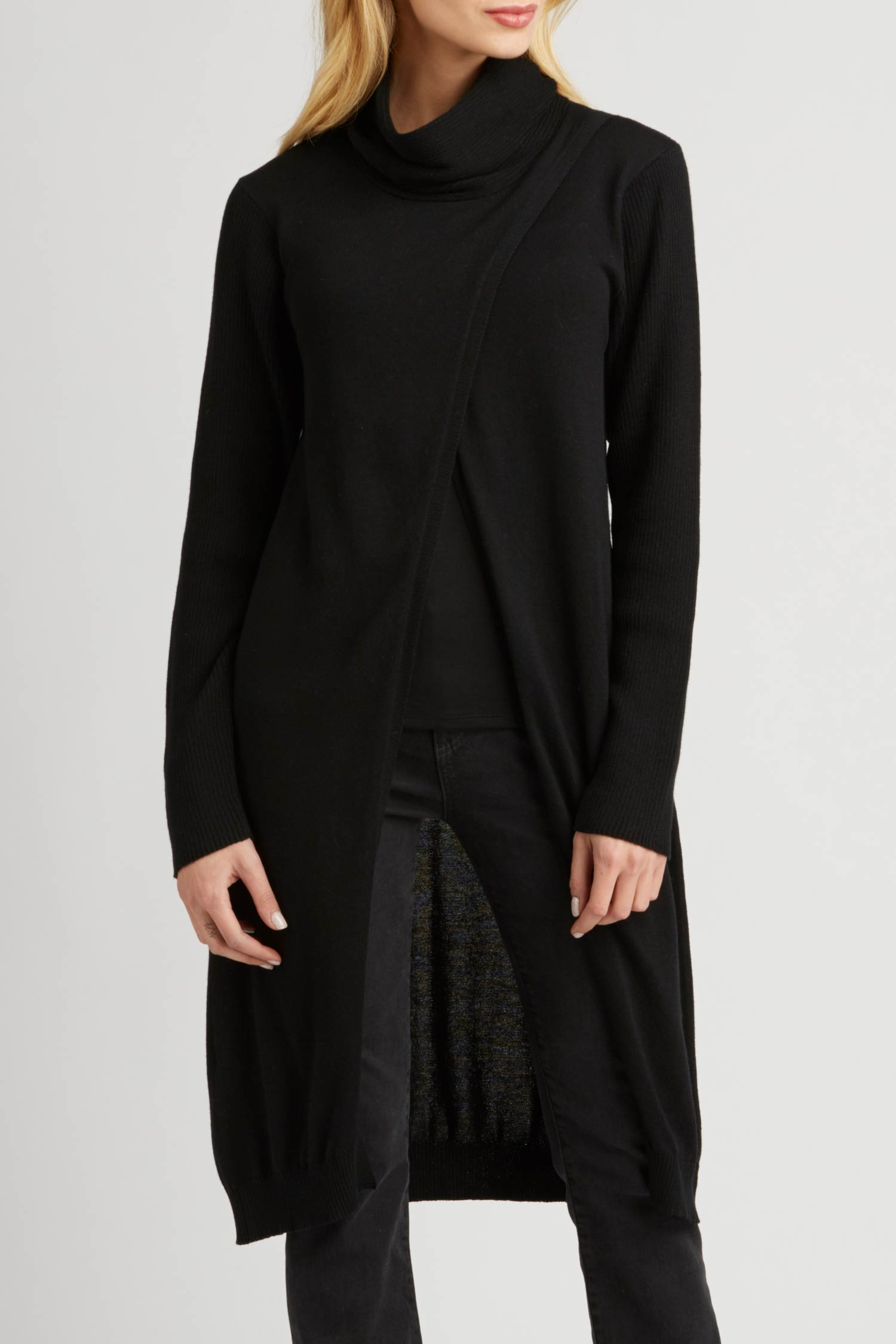 Womens Cross Front Cowl Tunic Cardigan | Black | Organic Cotton Clothing