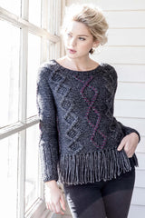 Womens Alpaca Sweater | Cable Fringe Pullover | Gray
