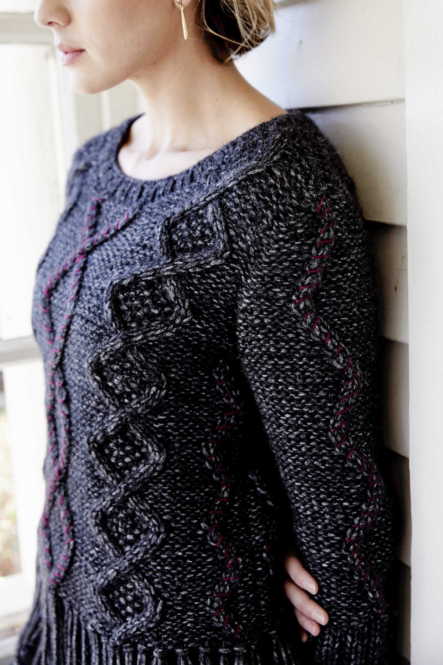 Womens Alpaca Sweater | Cable Fringe Pullover | Sustainable Fashion