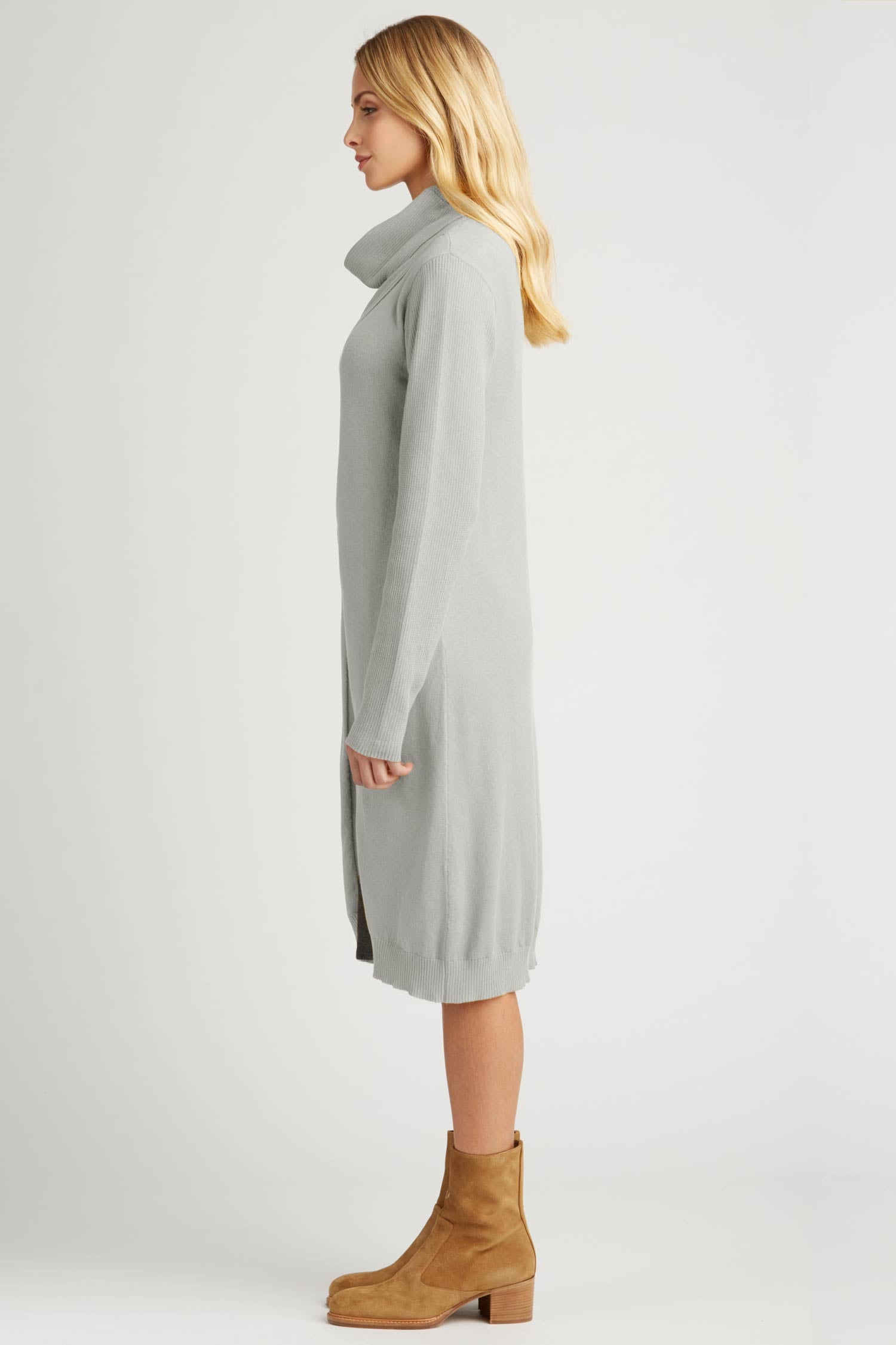 Womens Cross Front Cowl Tunic Cardigan | Gray | Organic Cotton Clothing