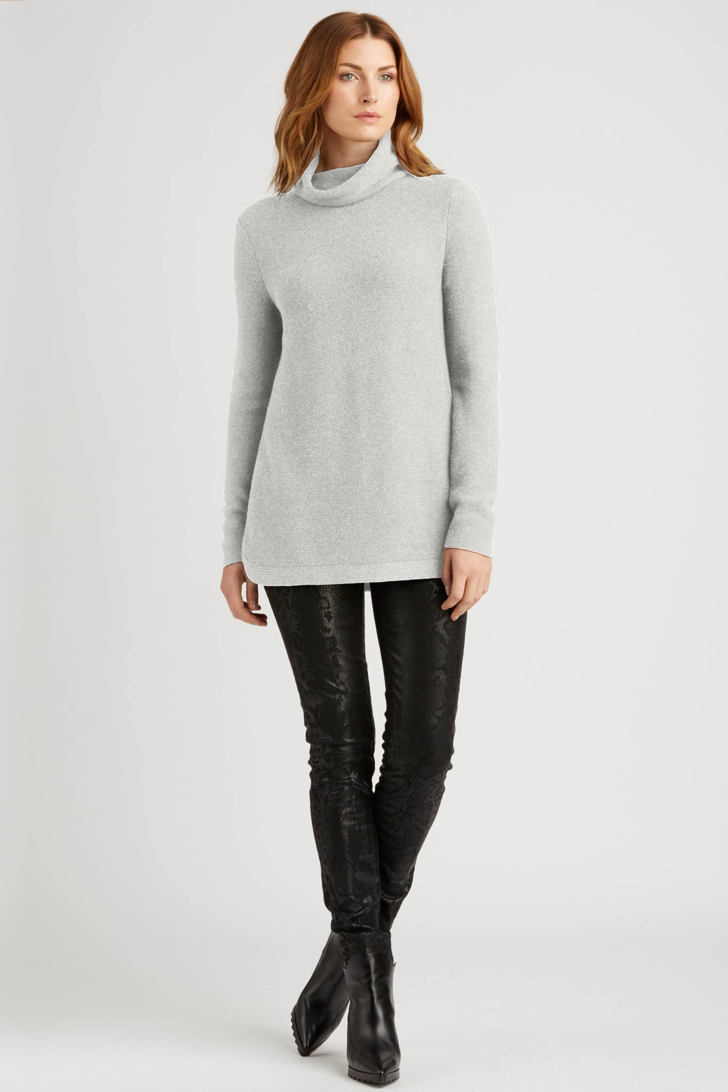Womens Funnel Neck Sweater | Organic Cotton Clothing | Silver