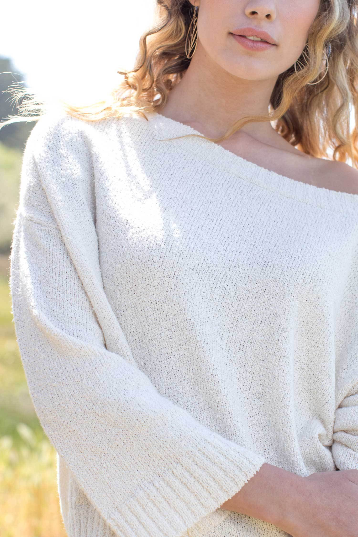 Womens Organic Cotton Sweater | Ivory Undyed Off Shoulder Boucle Knit Pullover