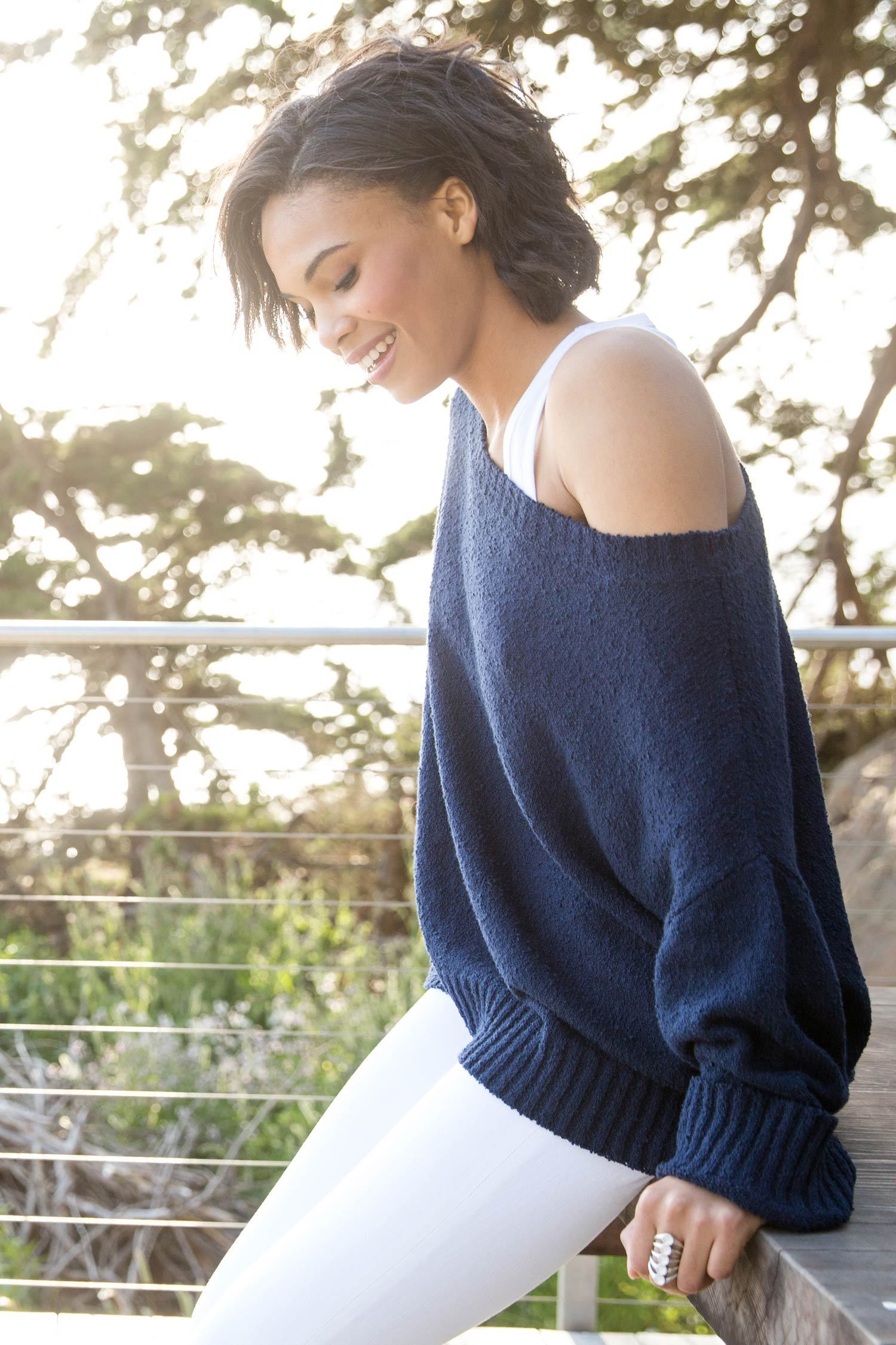 Womens Organic Cotton Sweater | Navy Blue Off Shoulder Boucle Knit Pullover