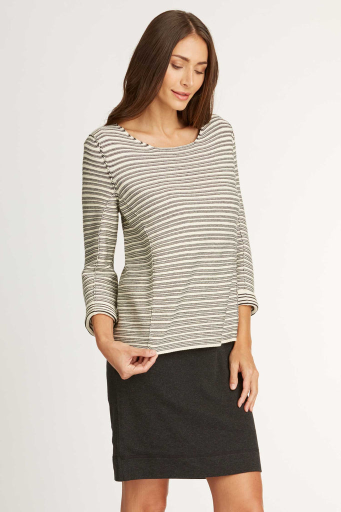 Womens sweater textured knit pullover striped organic cotton clothing