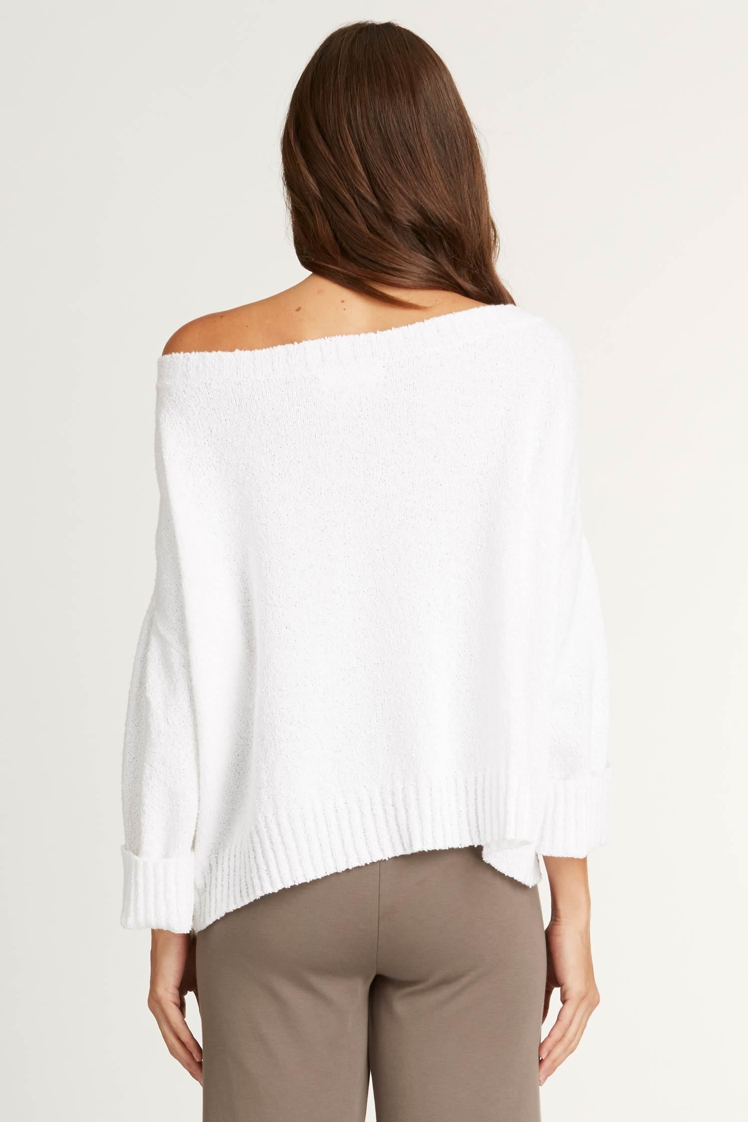Womens Organic Cotton Sweater | White Off Shoulder Boucle Knit Pullover