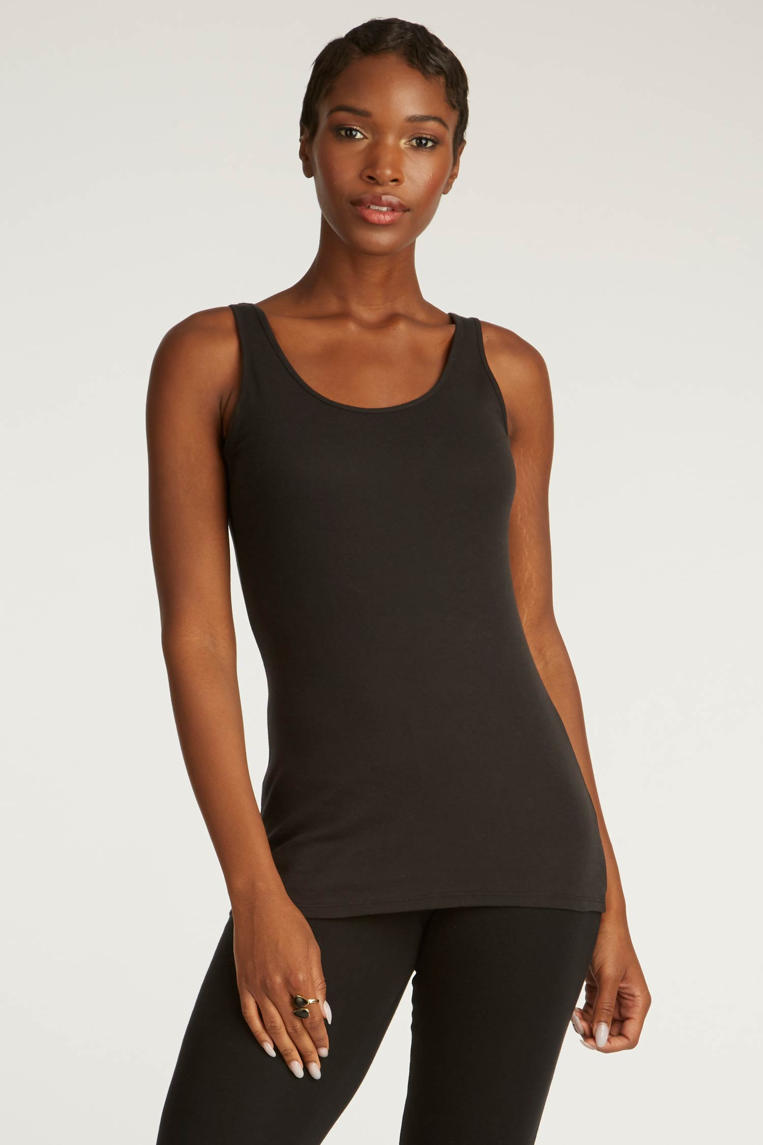 Womens Tank Top Black Organic Cotton Clothing