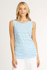 Womens tank top blue white stripes organic cotton sustainable clothing