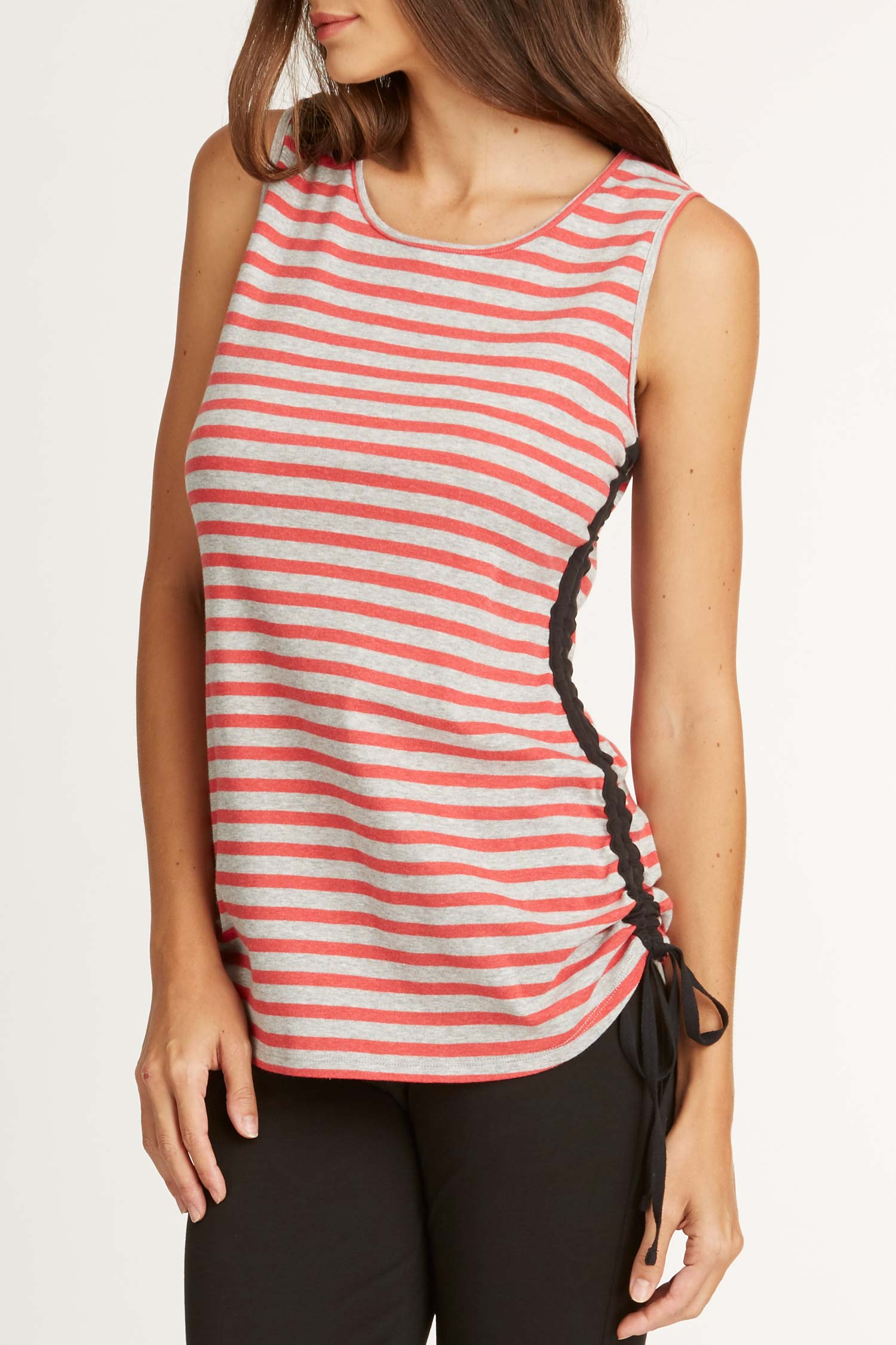 Womens tank top red gray stripes organic cotton sustainable clothing