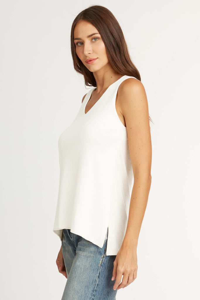 Womens Knit Sweater Tank White Sustainable Fashion Top