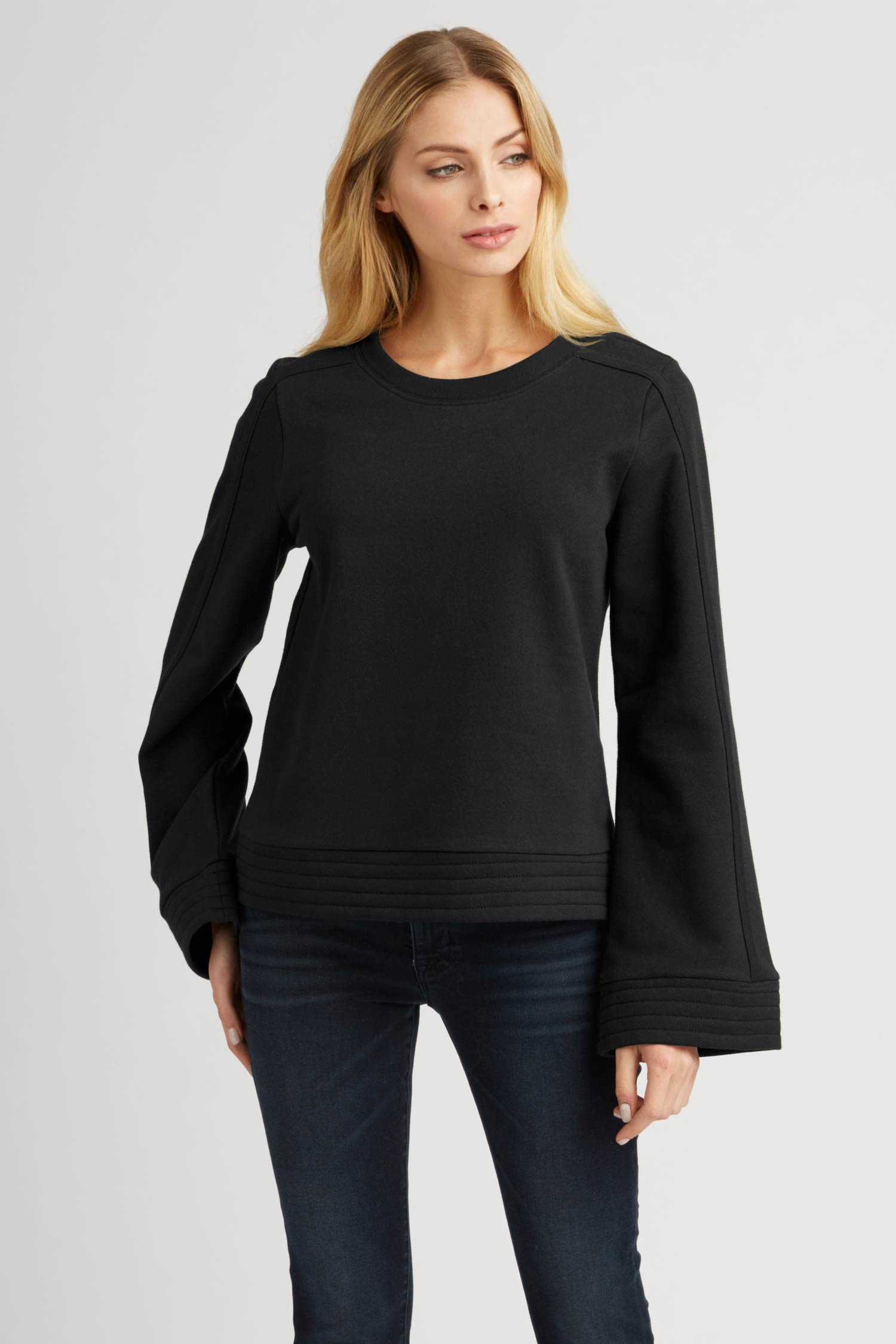 Womens Bell Sleeve Pullover Top in Black
