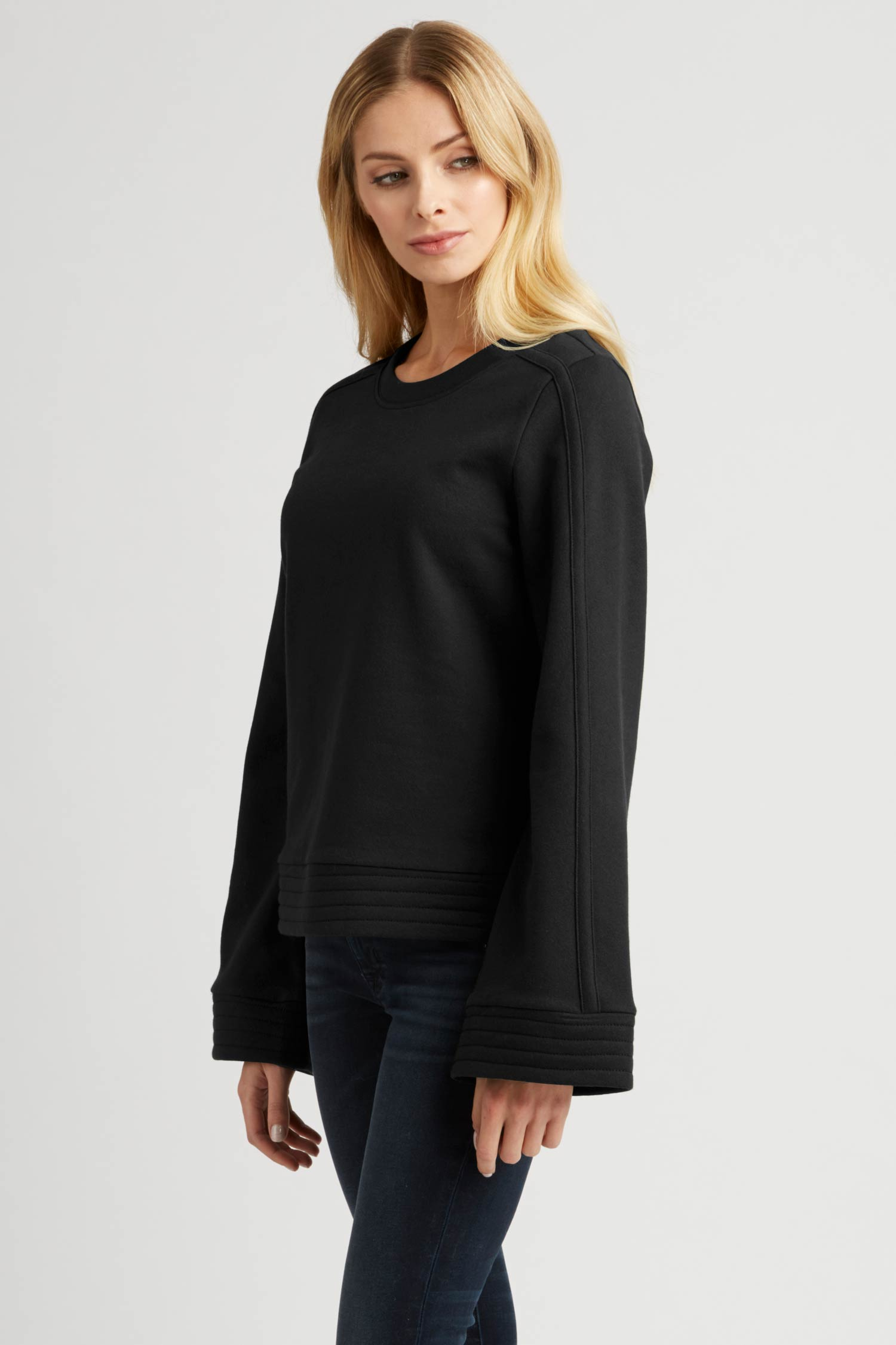 Womens Bell Sleeve Pullover Top in Black Organic Cotton