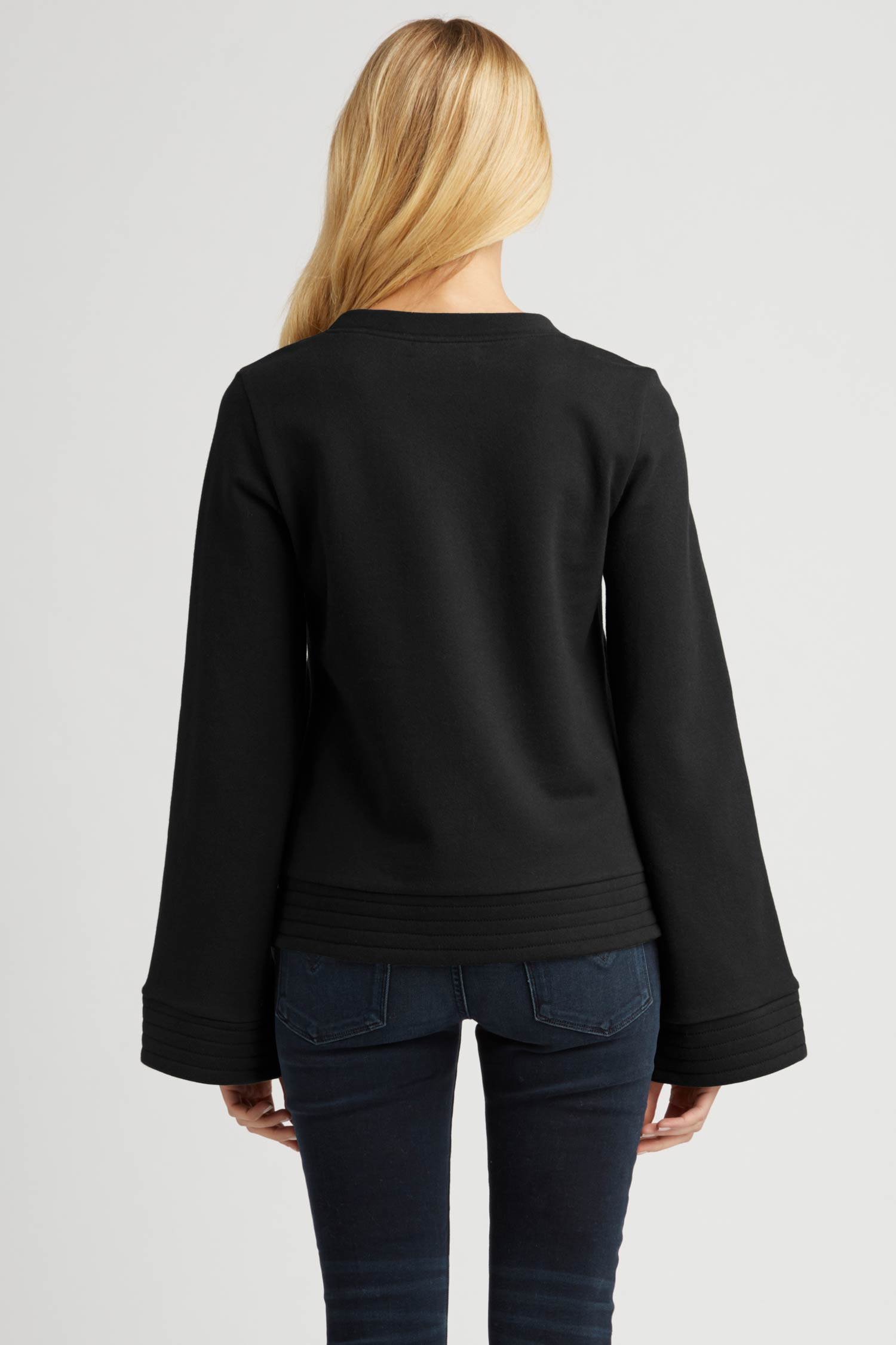 Womens Bell Sleeve Pullover Sweater in Black