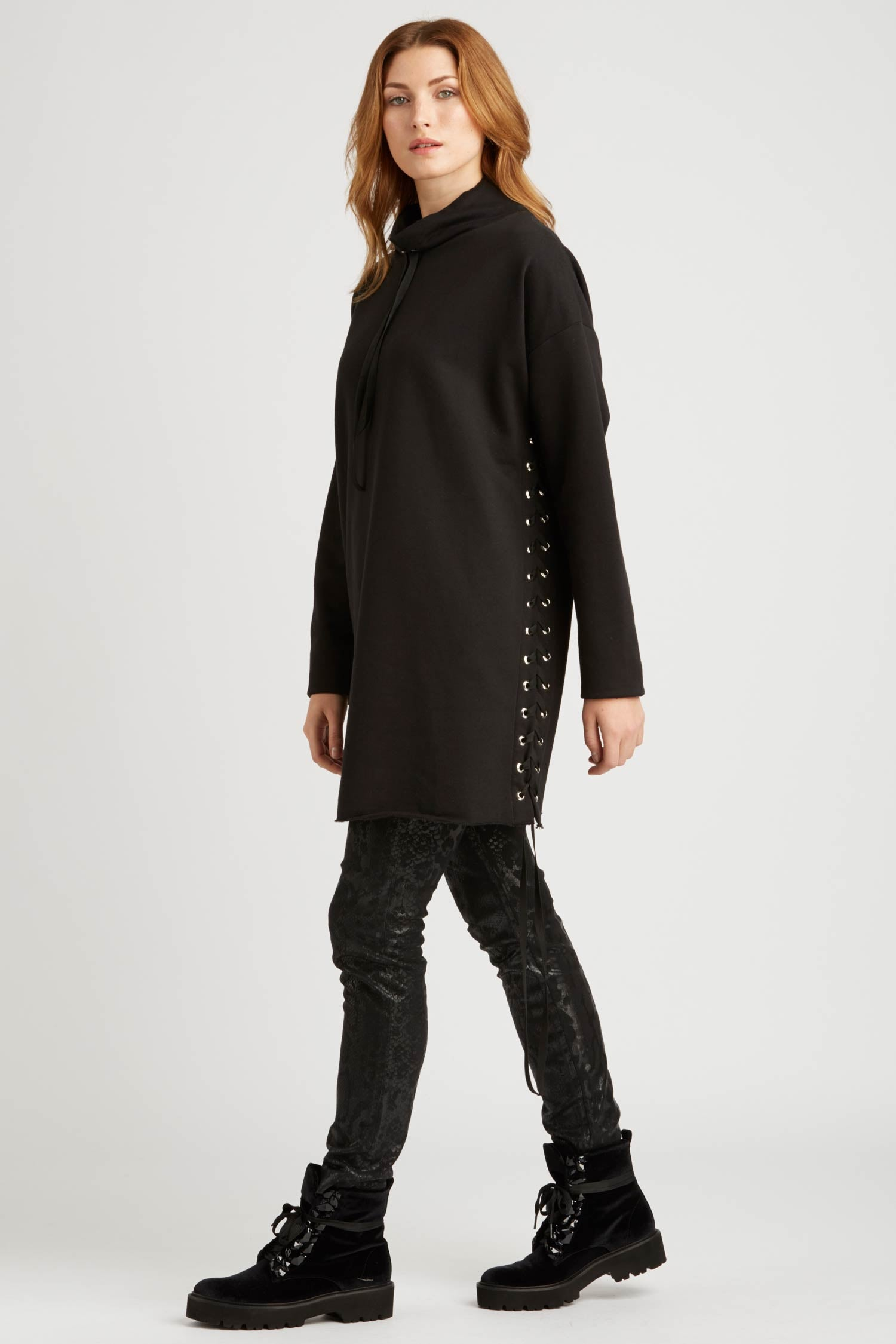 Womens Cocoon Lace Up Tunic in Black Organic Cotton Fleece