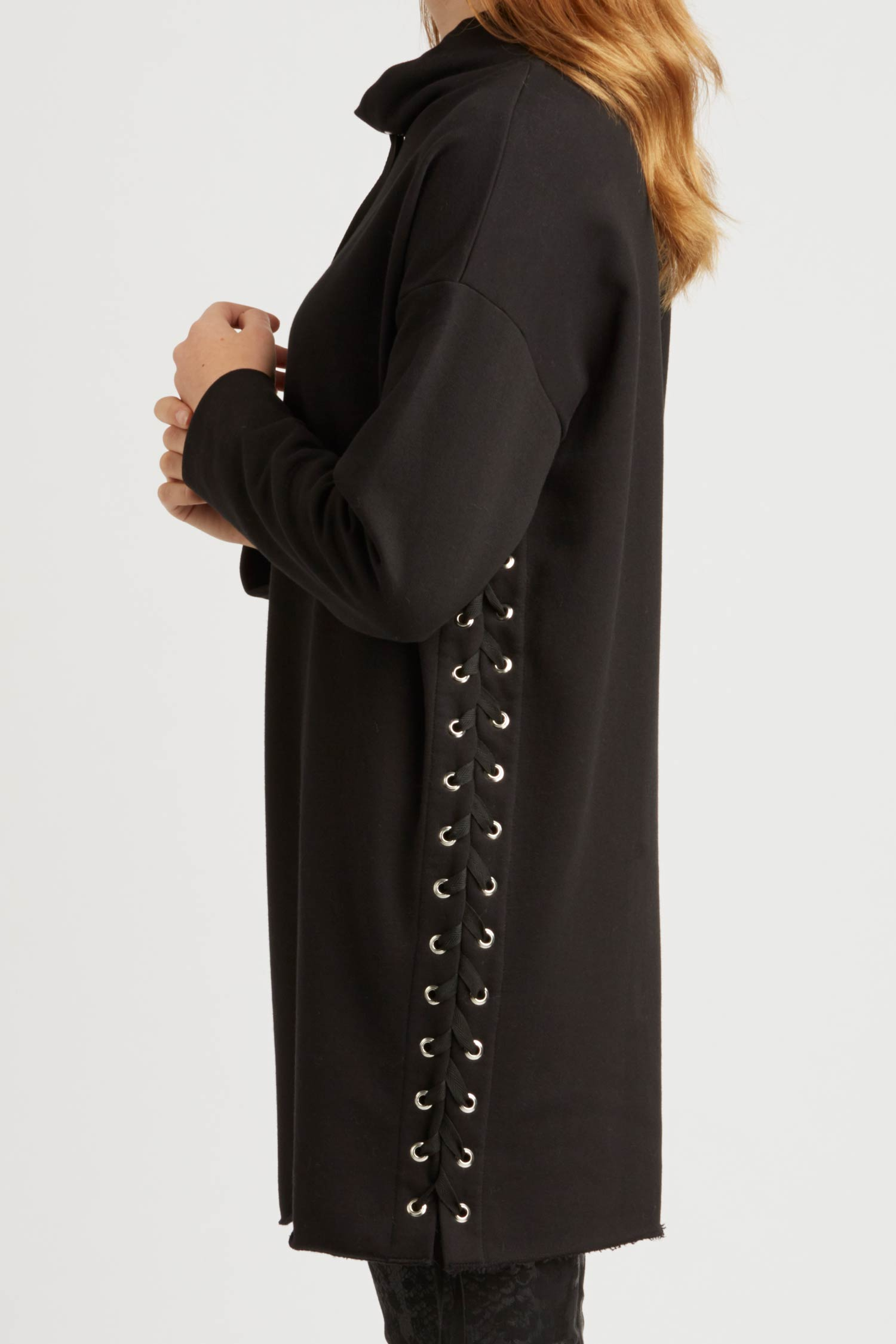 Womens Tunic in Black Organic Cotton Fleece with Lace Up Detail