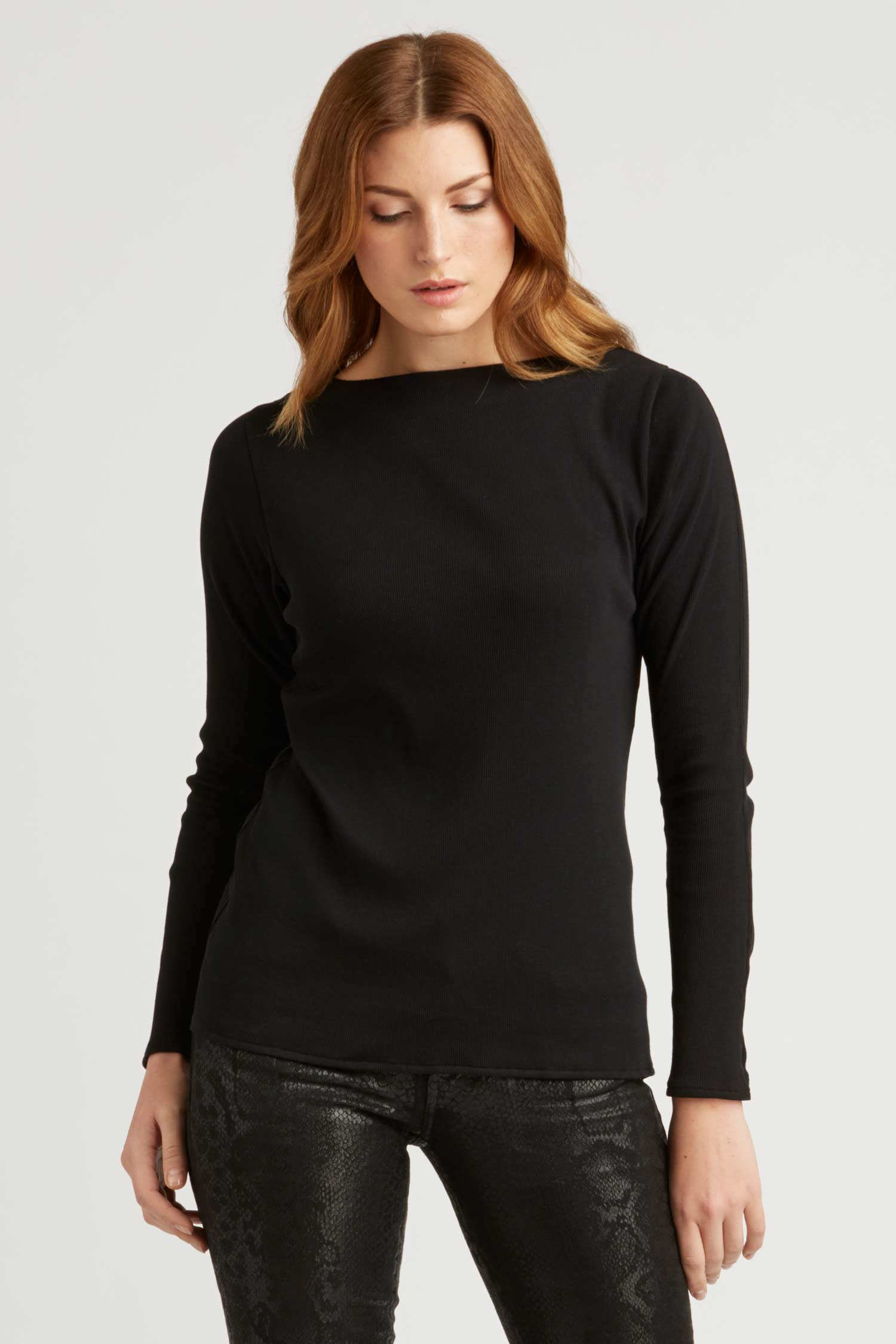 Womens Organic Cotton Rib Boatneck Top | Black | Sustainable Fashion