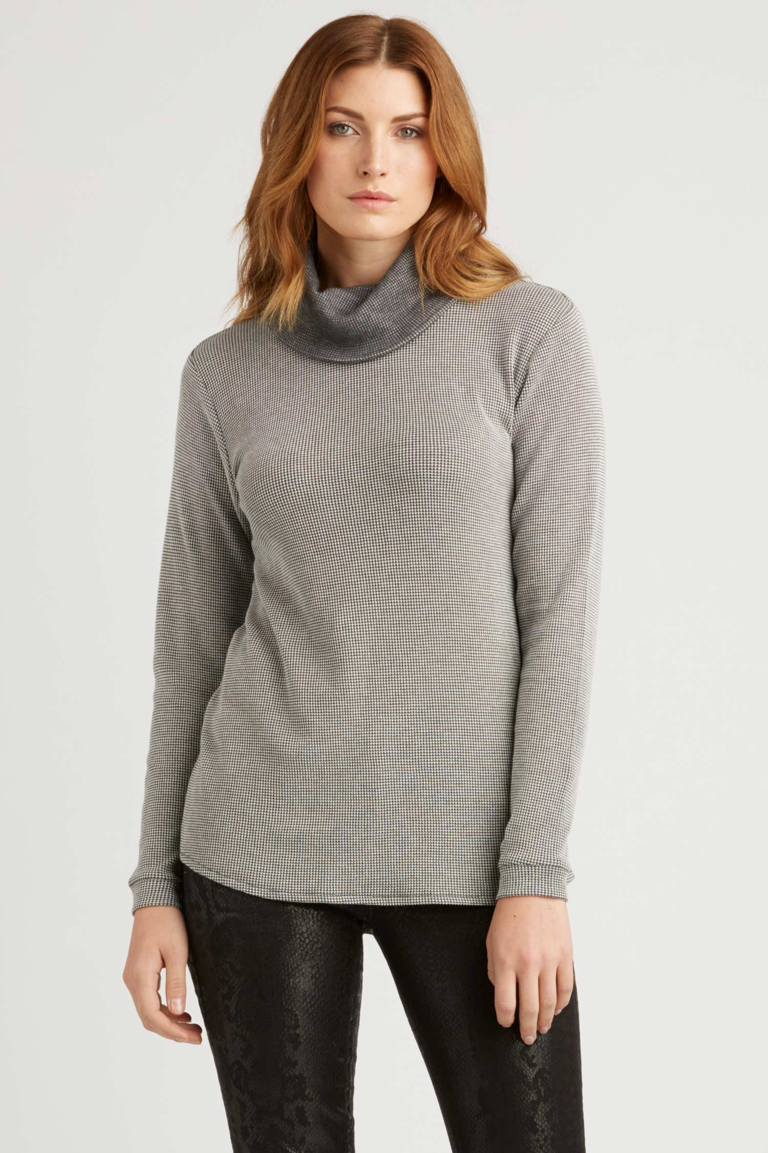 Womens Organic Cotton Top | Waffle Cowl Neck Pullover | Gray