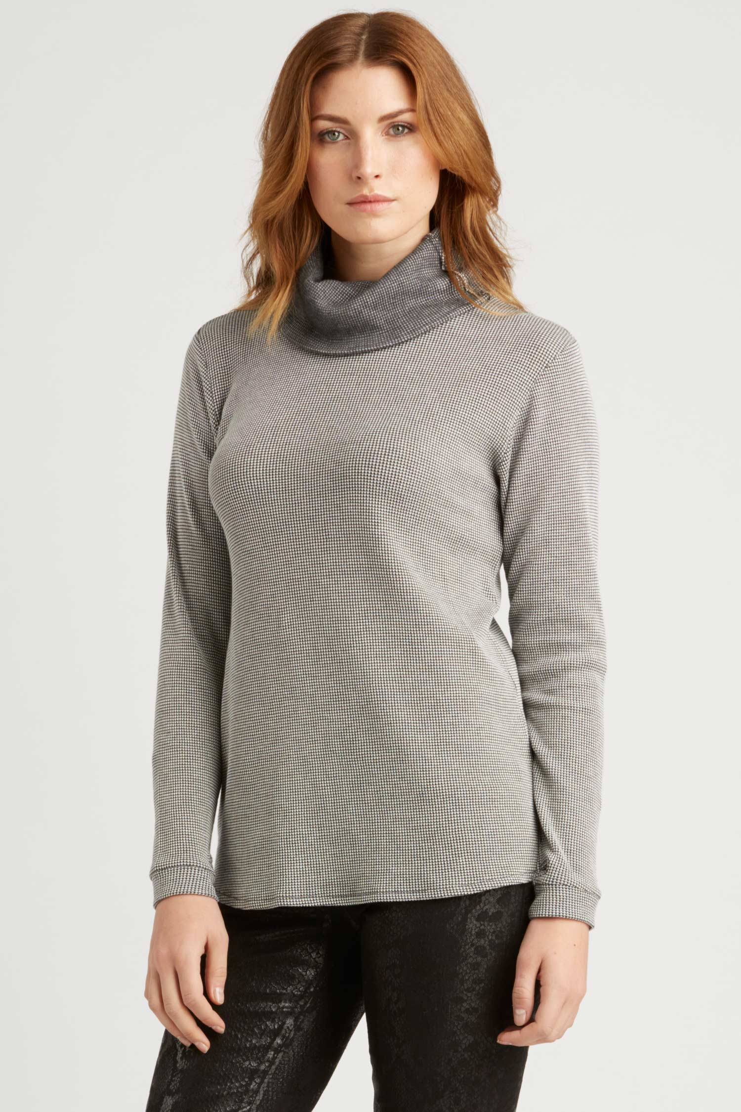 Womens Organic Cotton Clothing | Waffle Cowl Neck Top | Gray