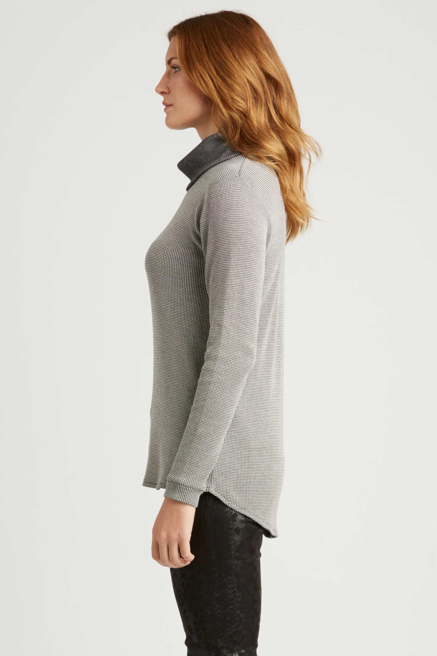 Womens Cowl Neck Pullover Top | Gray | Organic Cotton Clothing