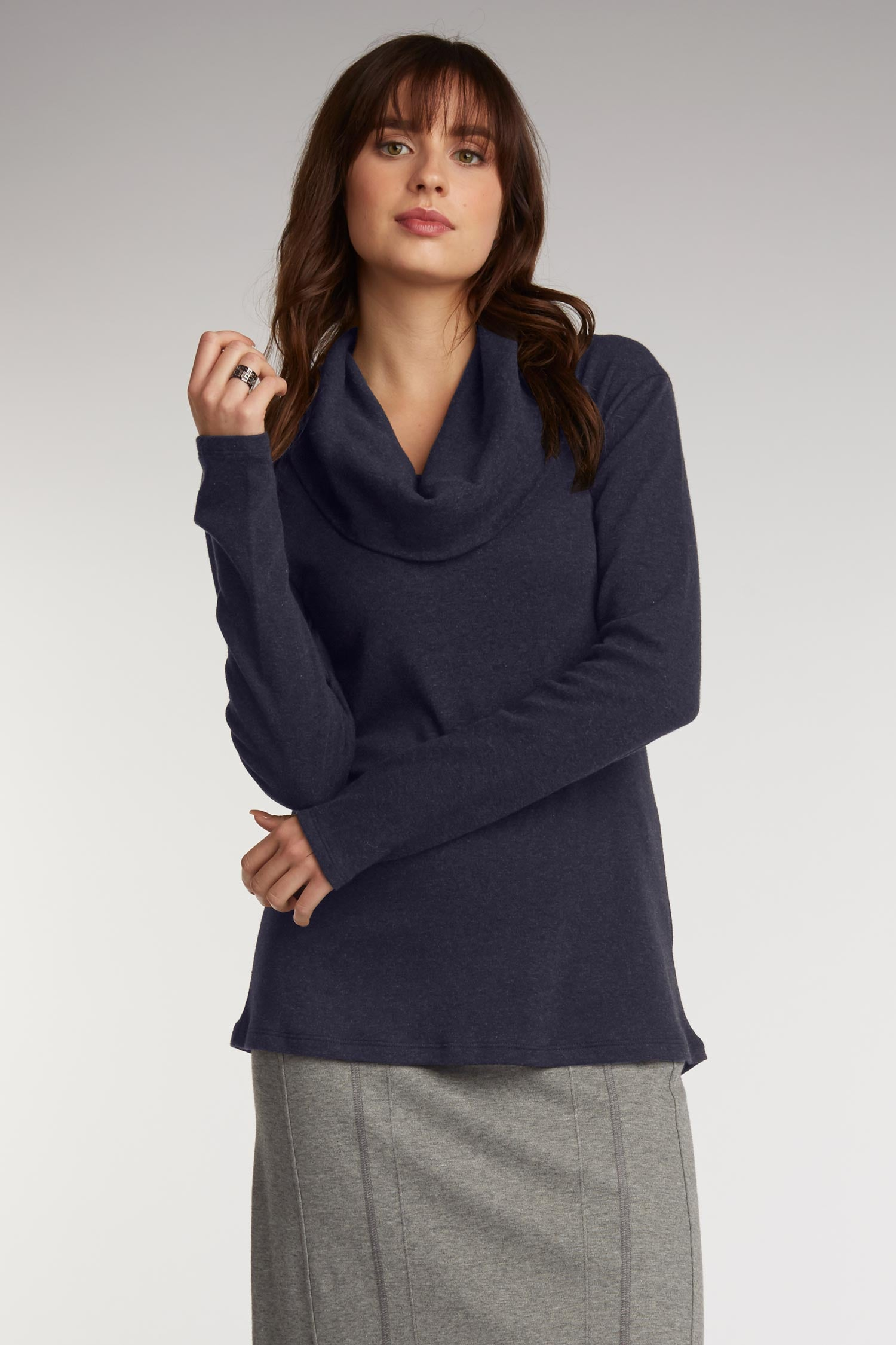Womens Cowl Neck Top in Navy Blue | Sustainable Fashion