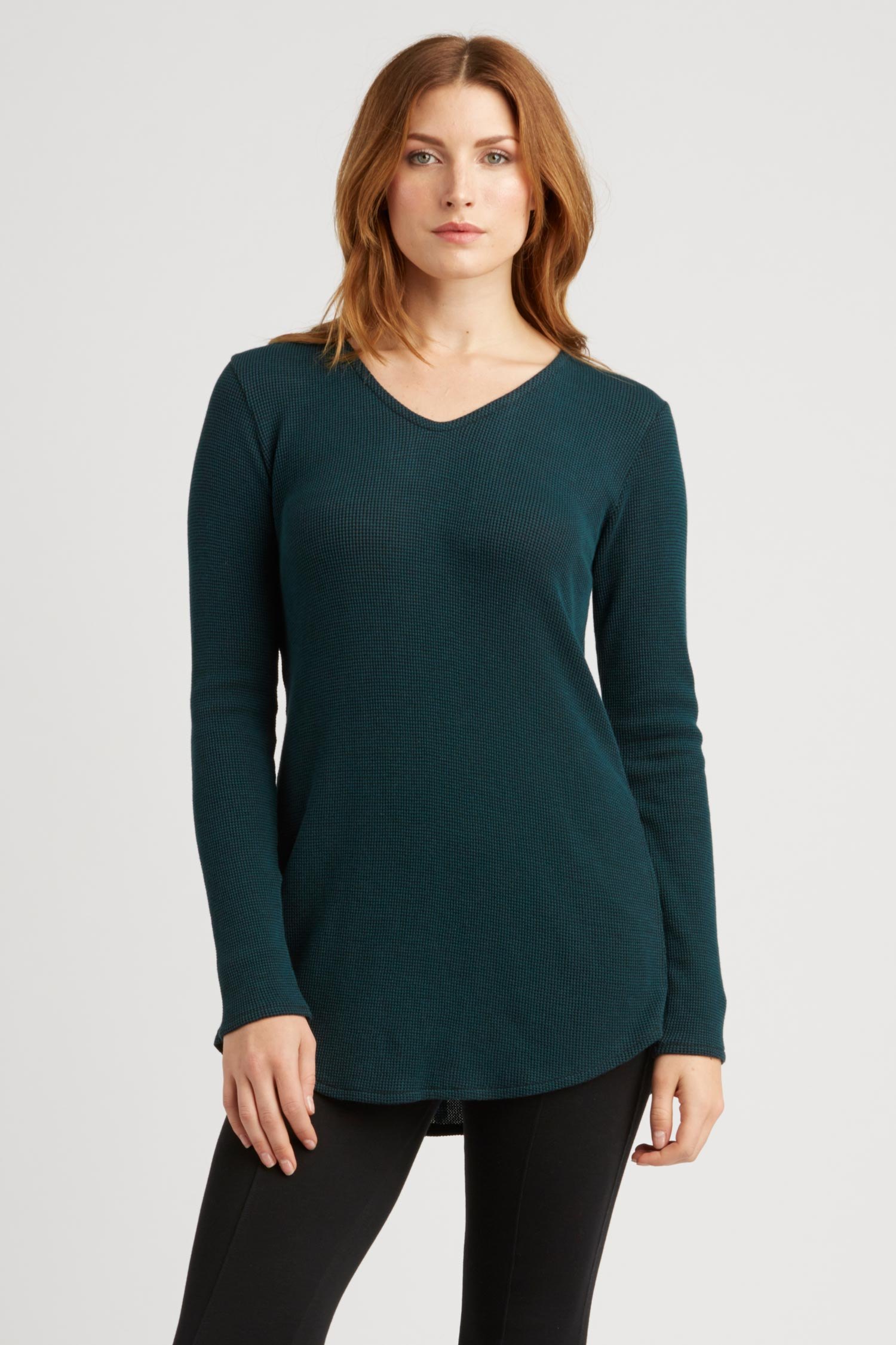 Womens Top Teal Waffle Tie Back Pullover | Sustainable Fashion