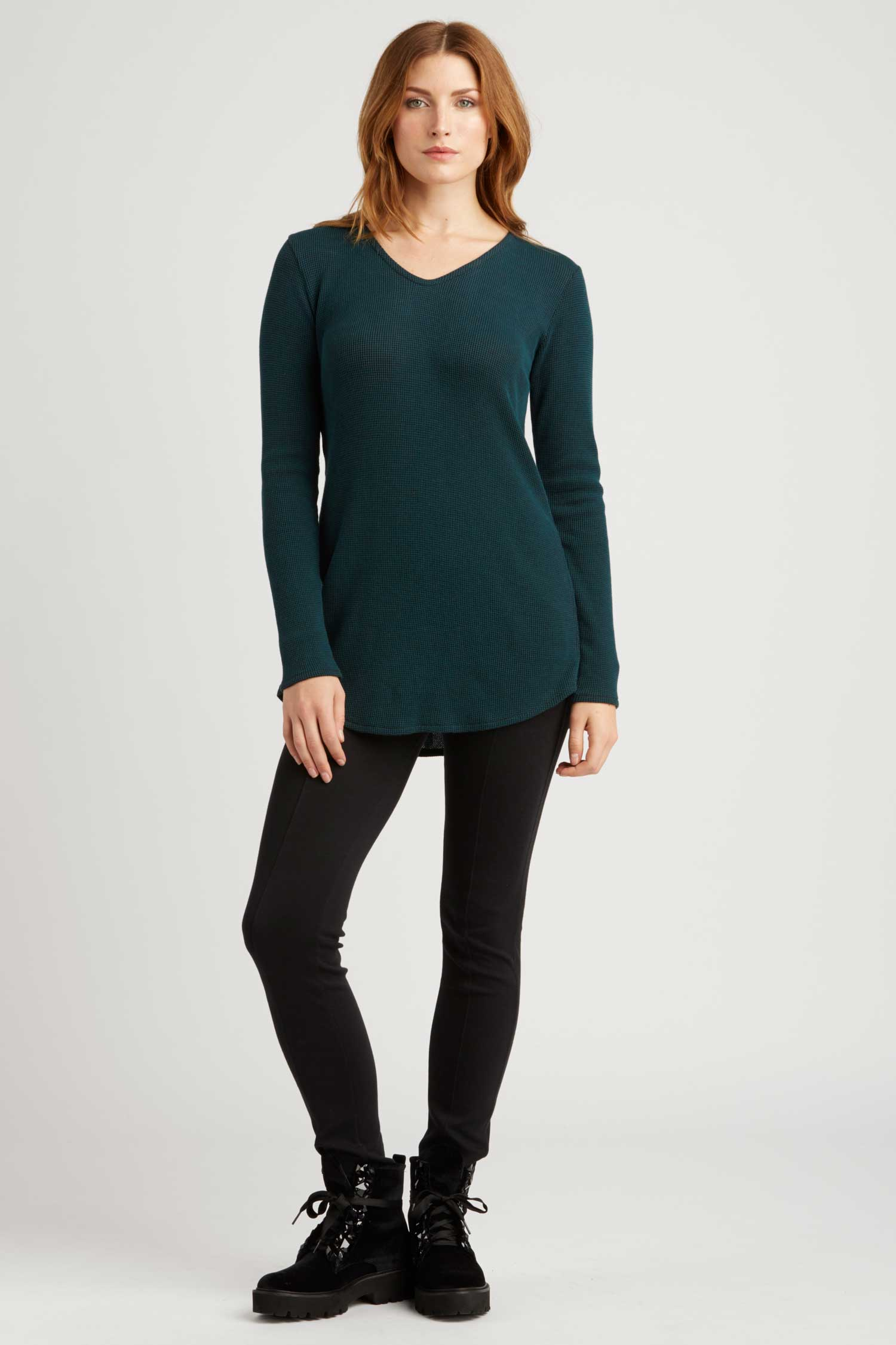Womens Top Jade Green Waffle Tie Back Pullover | Organic Cotton Clothing