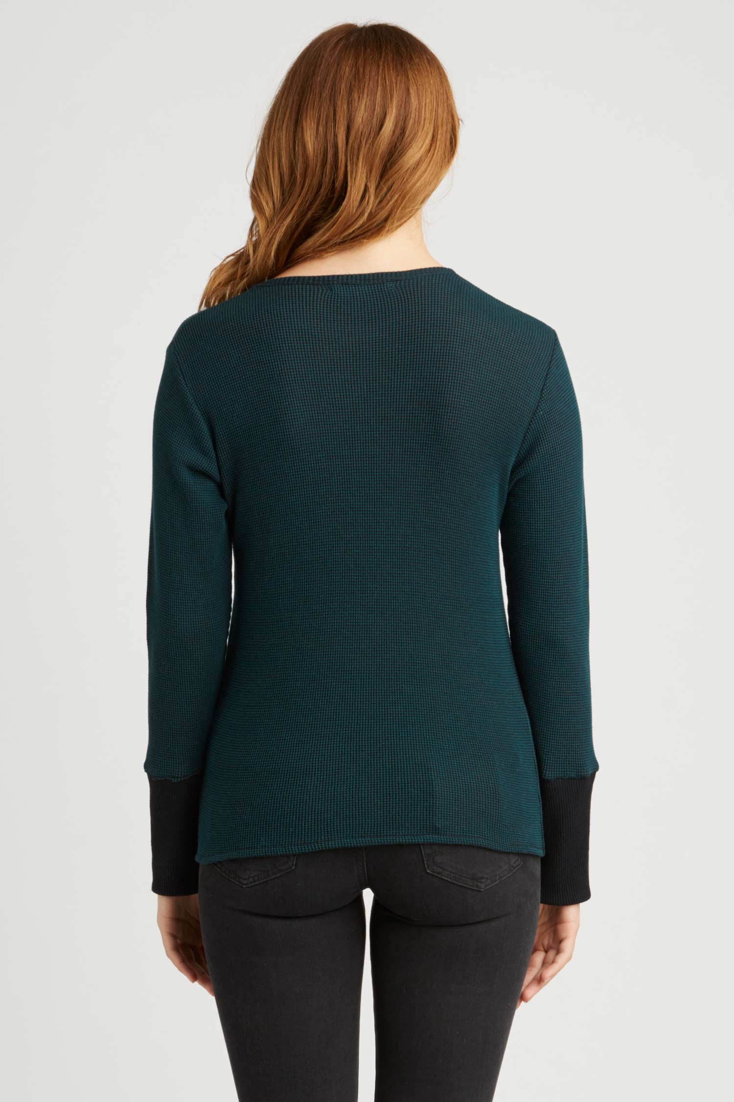 Womens Organic Cotton Top | Waffle Long Sleeve Crew | Teal