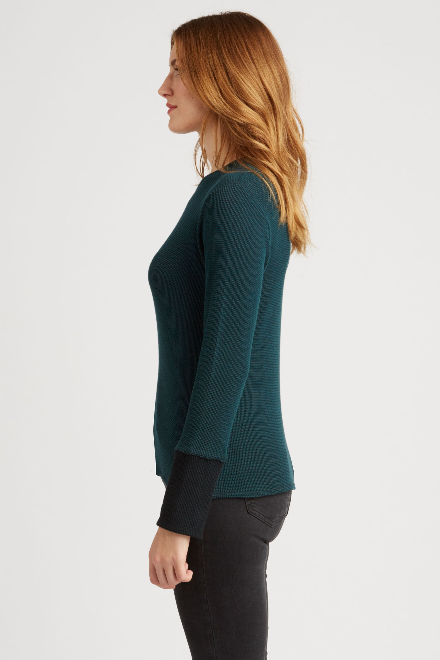 Womens Organic Cotton Clothing | Waffle Long Sleeve Top | Teal