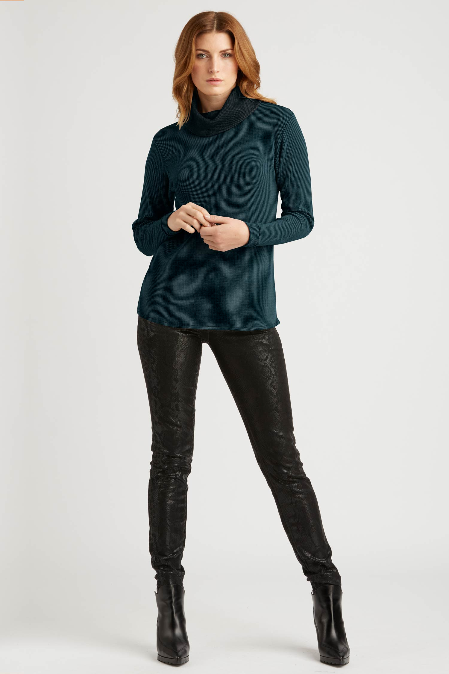Womens Organic Cotton Top | Waffle Cowl Neck Pullover | Jade Green