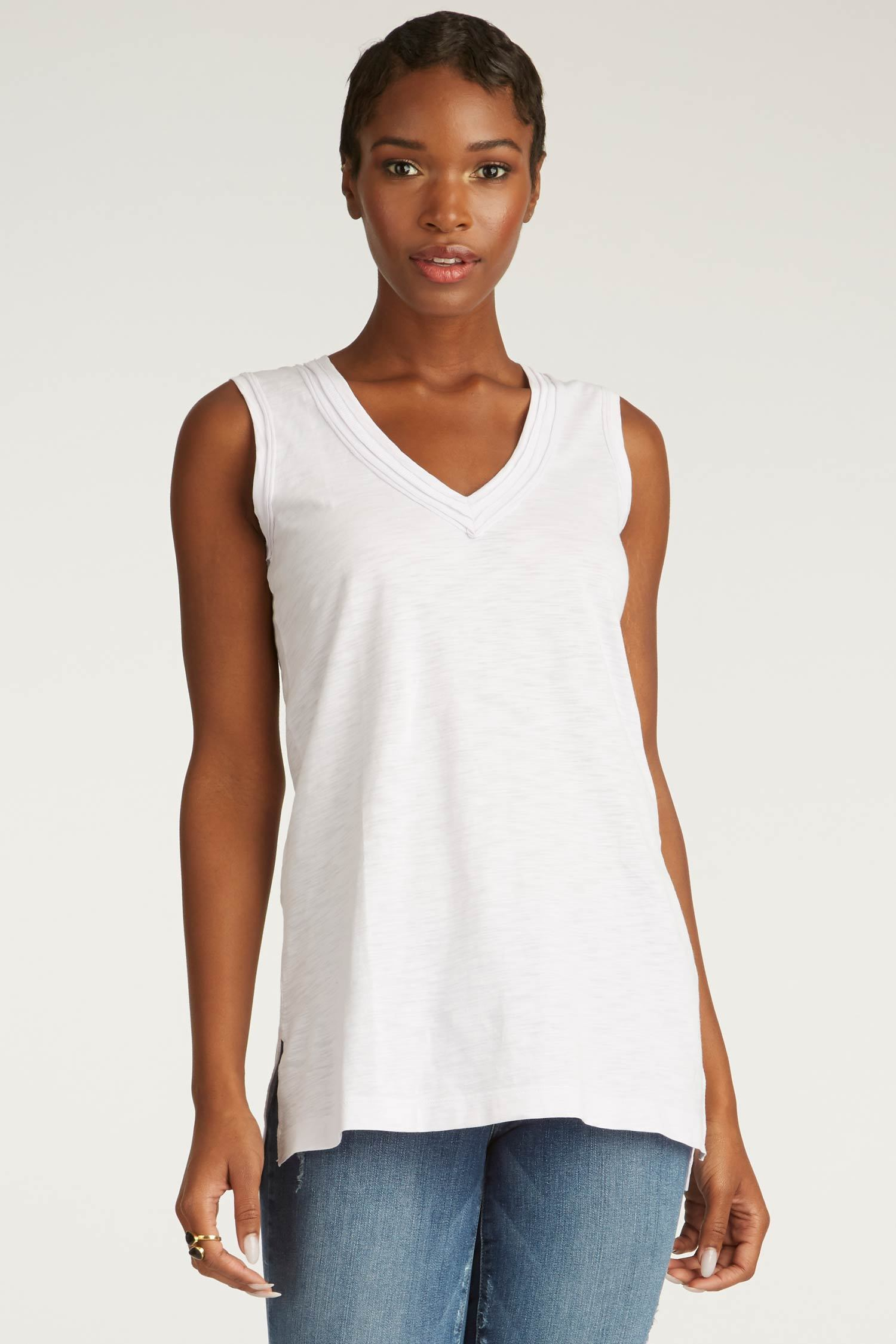 womens tank top white long v neck tee organic cotton clothing basics for women