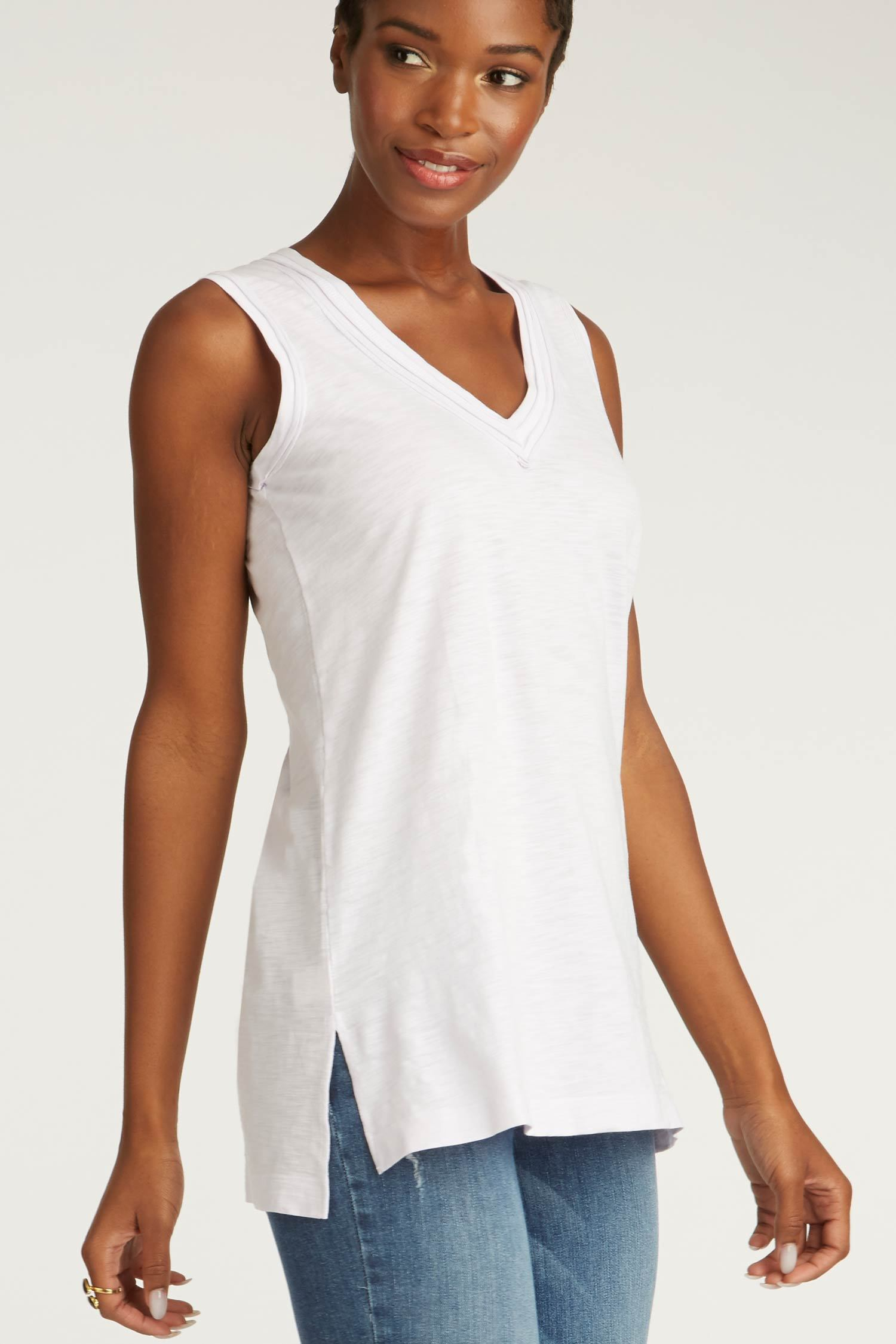 womens tank top white long v neck tee organic cotton clothing for women