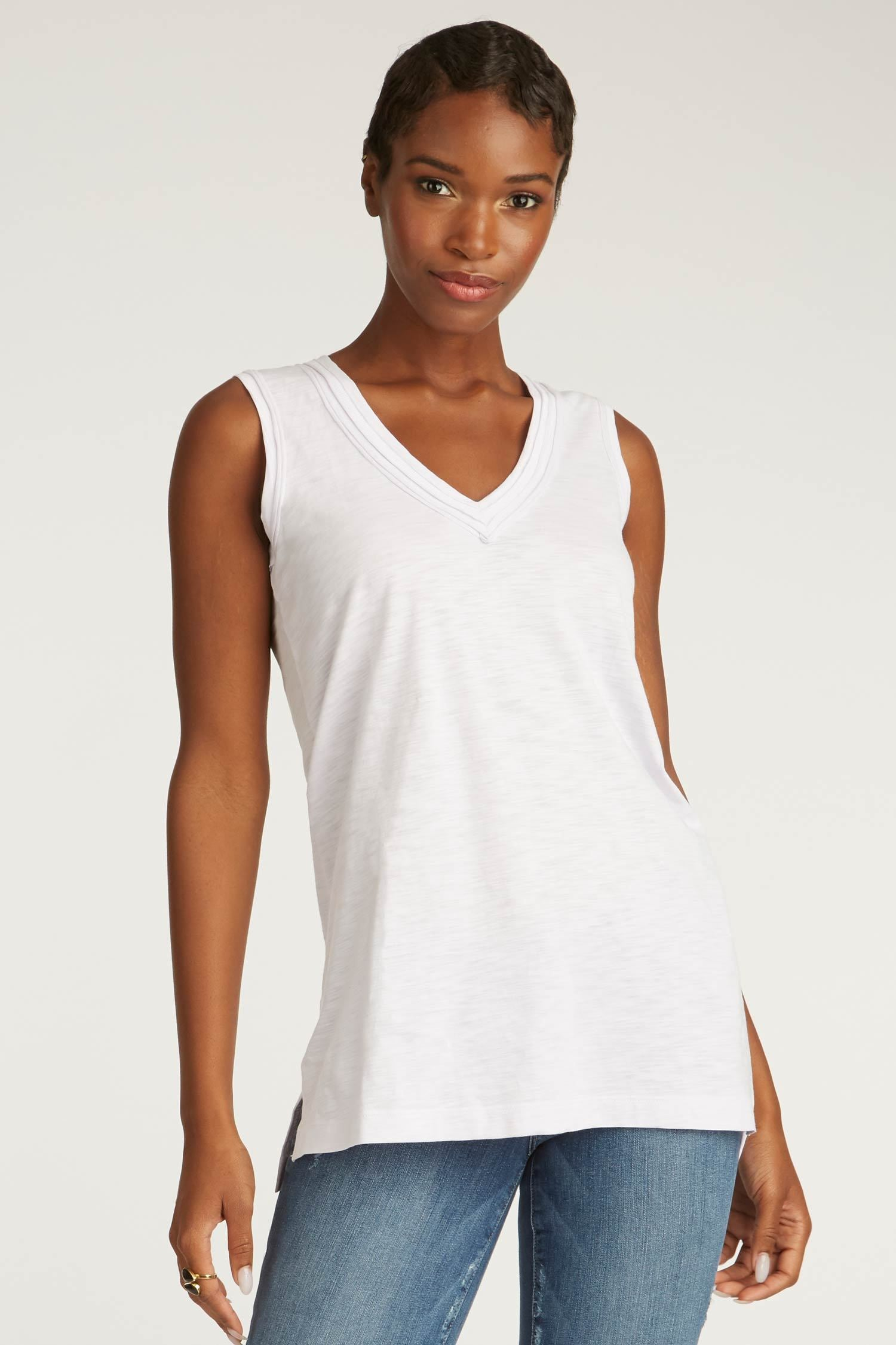 9b347a224b ... womens tank top white long v neck tee organic cotton clothing for women  ...