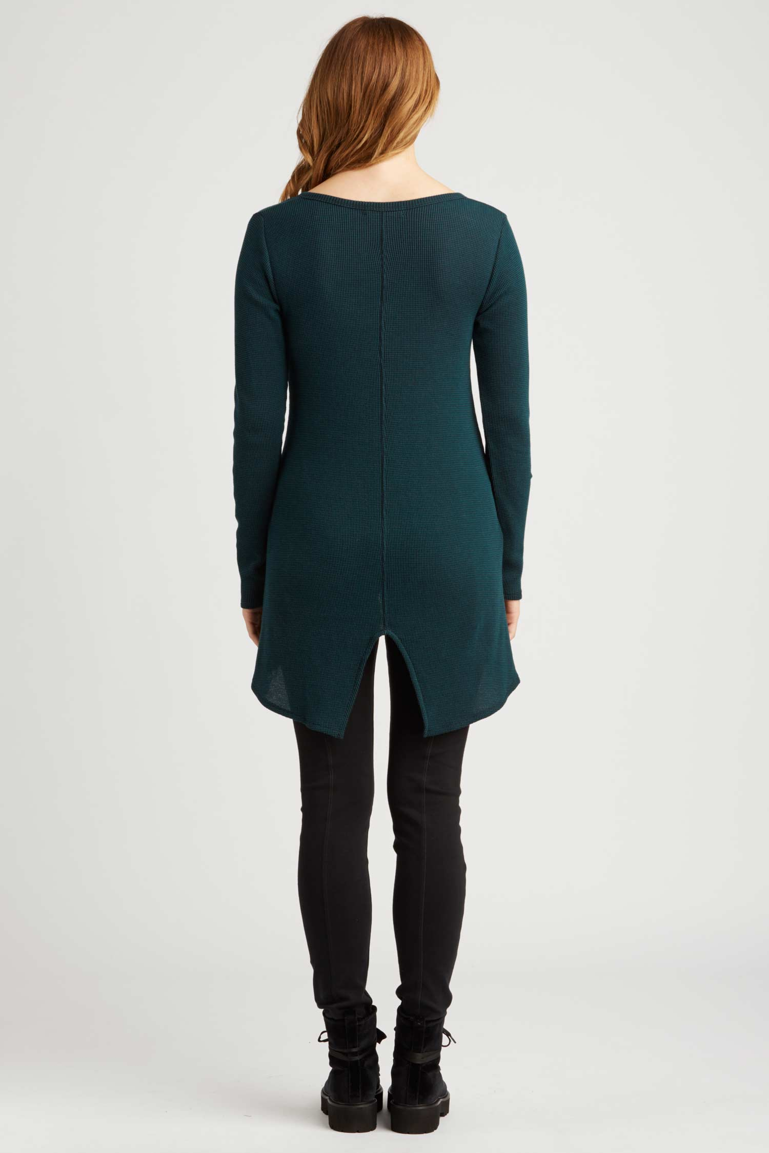 Womens Waffle Henley Tunic | Organic Cotton Clothing | Teal