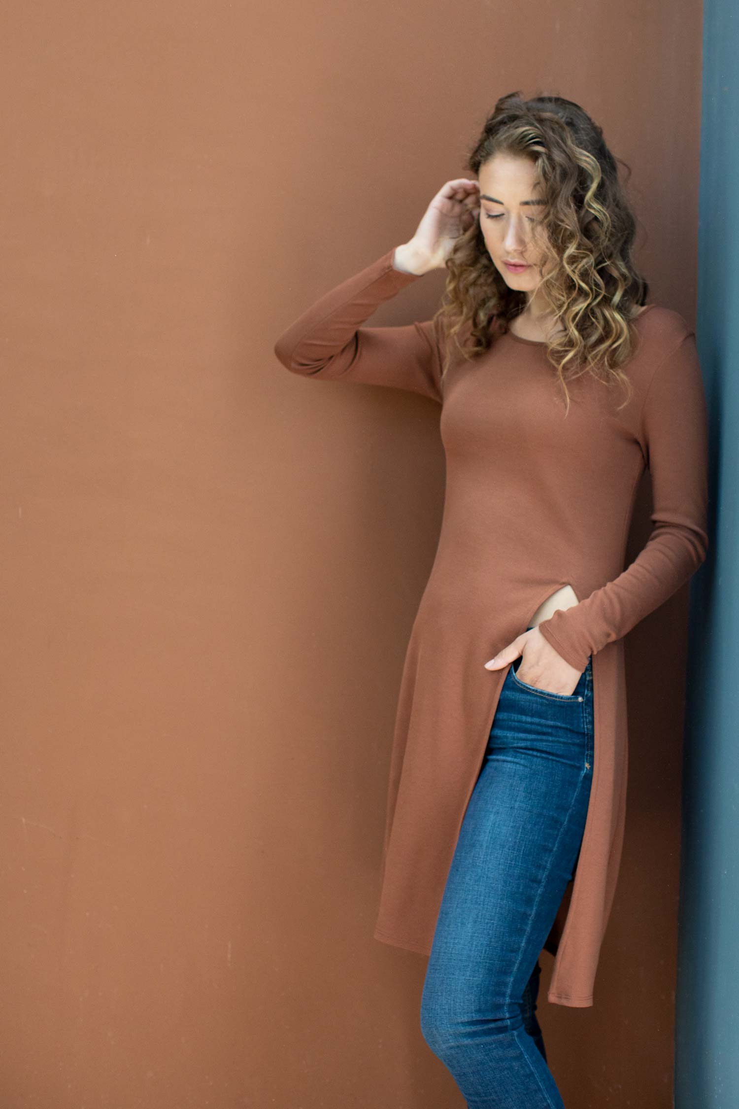 Womens Side Slit Tunic Top in Cognac Brown | Organic Cotton Clothing
