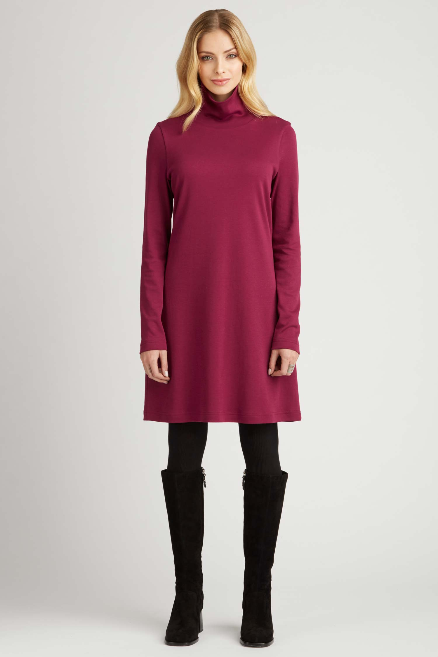 Womens Turtleneck Dress in Pink | Ethical Fashion