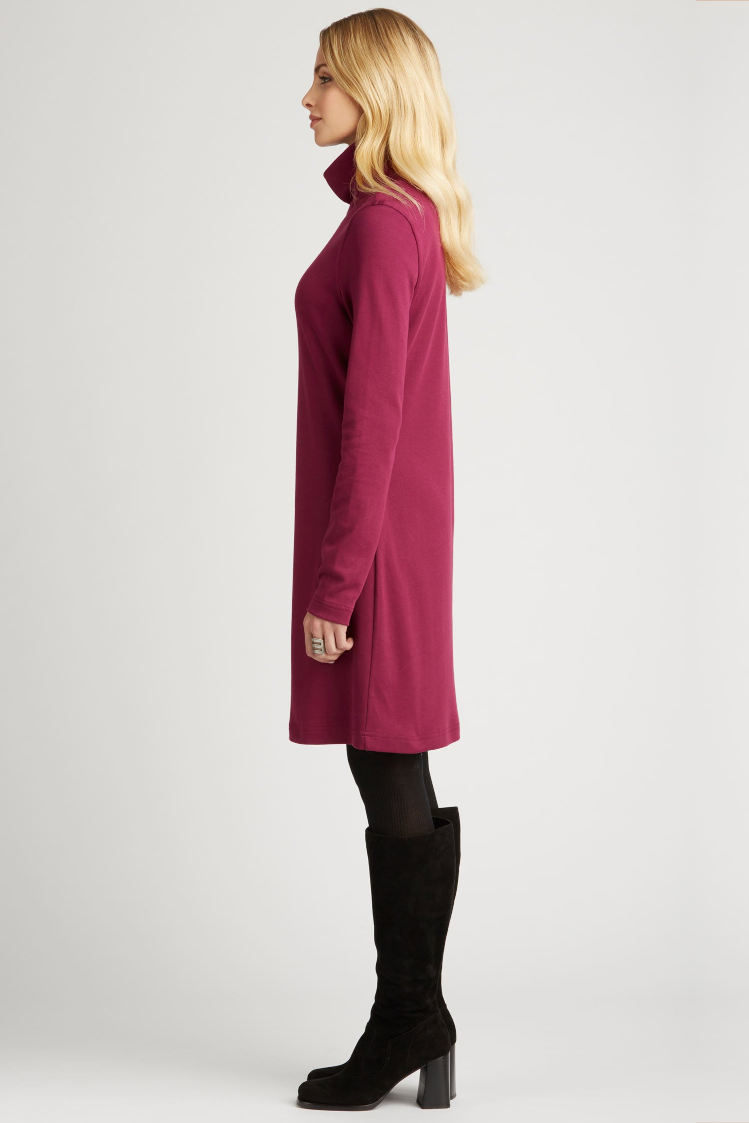 Womens Turtleneck Dress in Pink | Organic Cotton Clothing