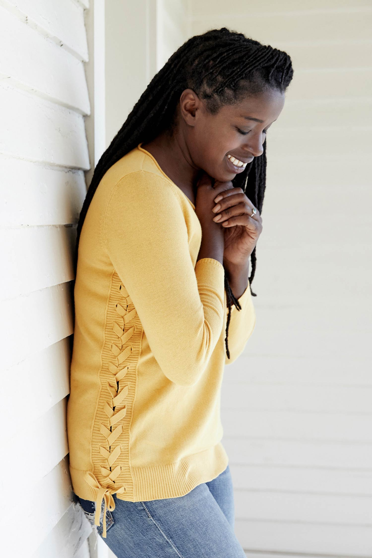 Womens Side Lace Up Pullover Sweater in Yellow | Organic Cotton Clothing