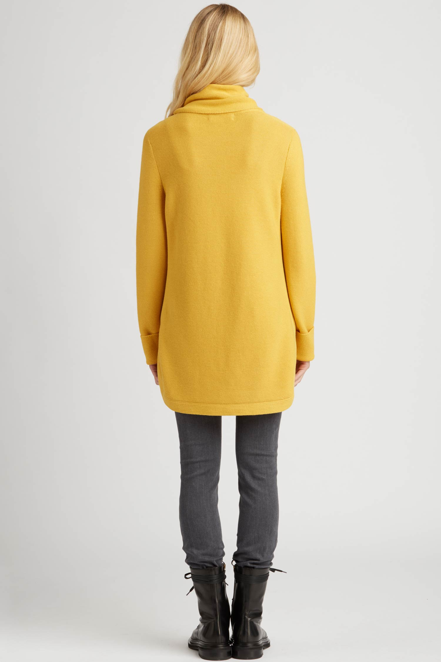 Womens Funnel Neck Sweater | Organic Cotton Clothing | Yellow
