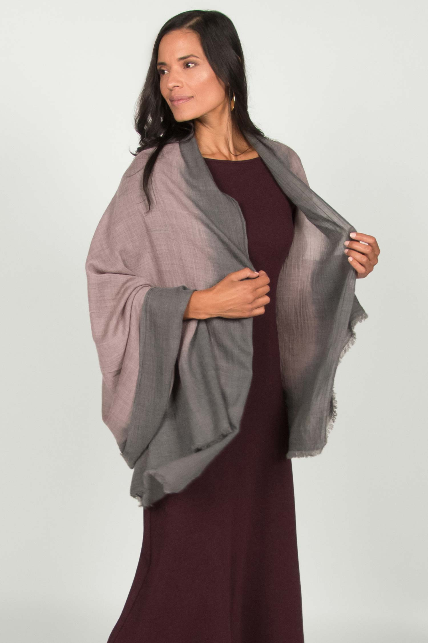 Womens Handloomed Ombre Wool Scarf | Gray | Fair Trade Gift