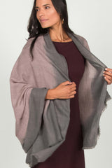 Womens Handloomed Ombre Wool Scarf | Gray