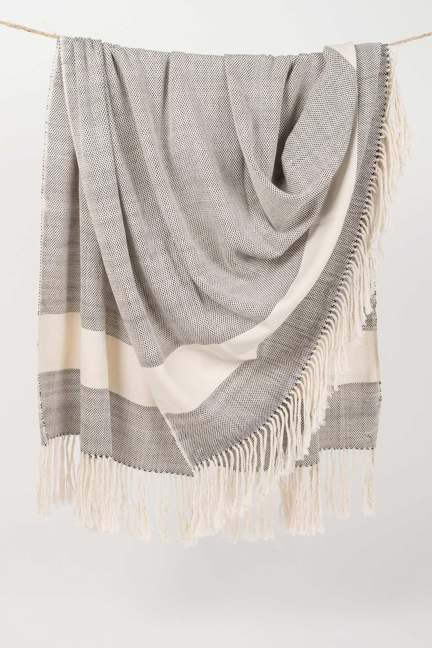 Hand Woven Blanket | White and Black Organic Cotton Blanket | Fair Trade