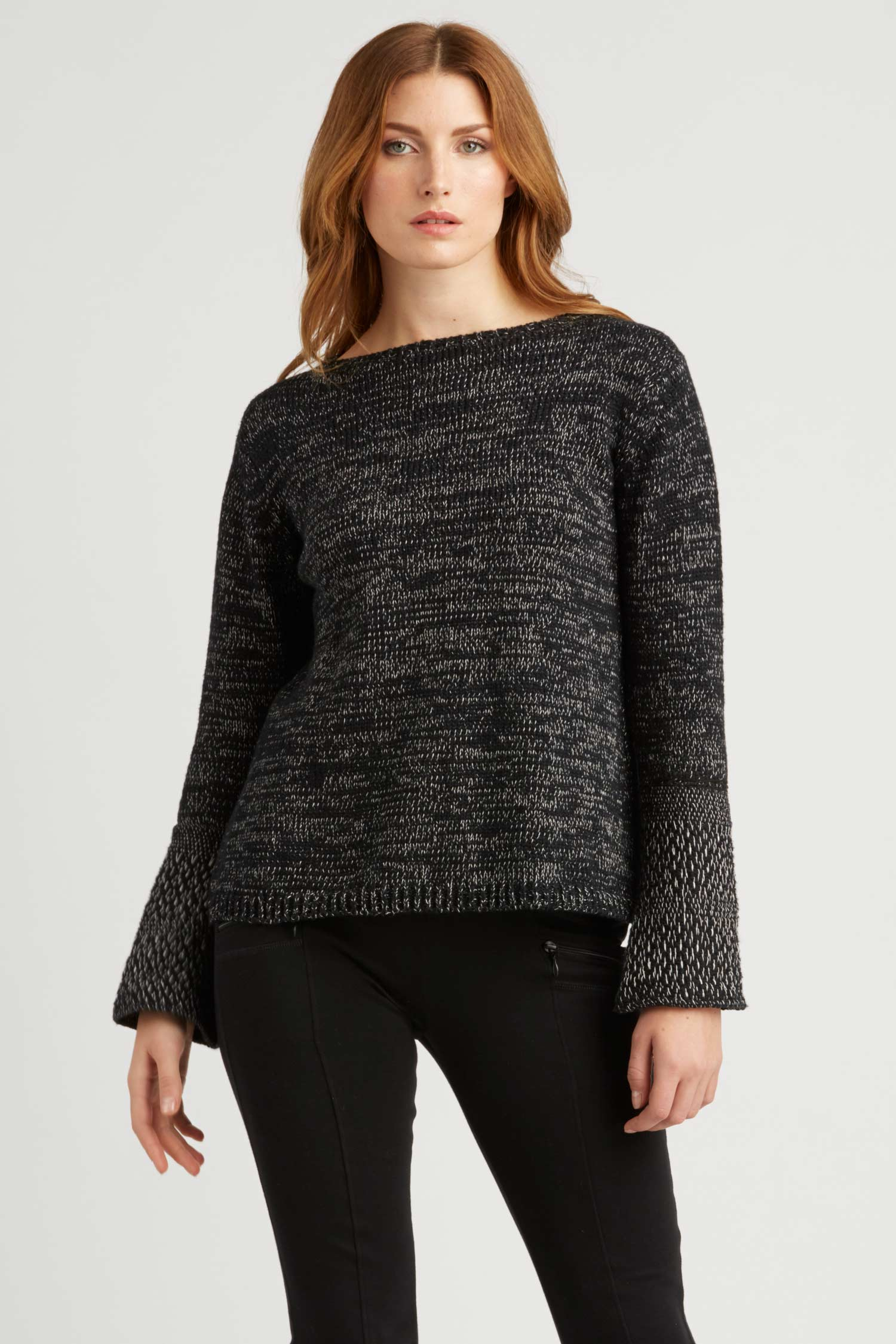 Womens Woven Cuff Knit Pullover | Organic Cotton Sweater