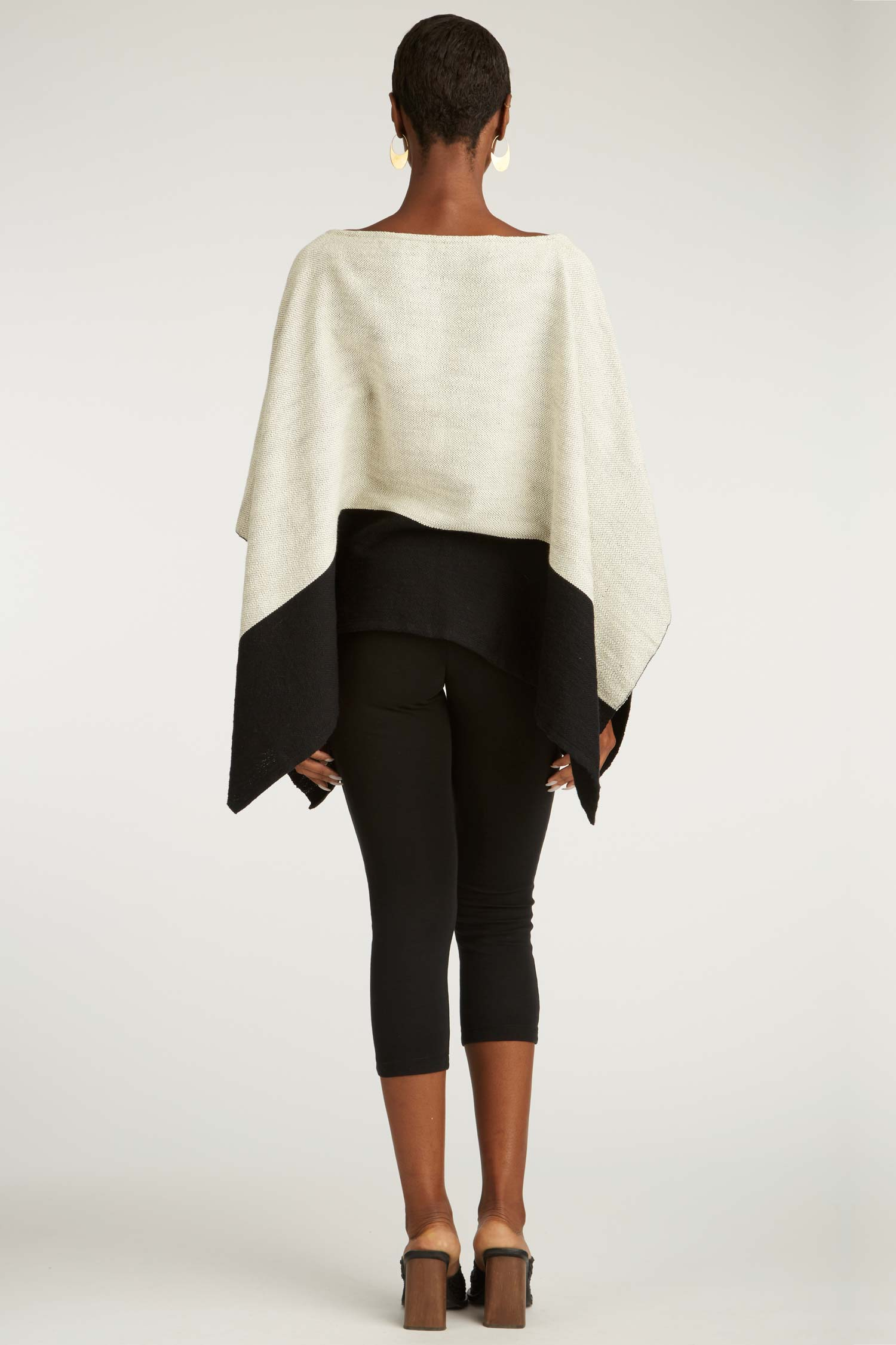 Womens Organic Cotton Poncho | Ivory Black | Handwoven