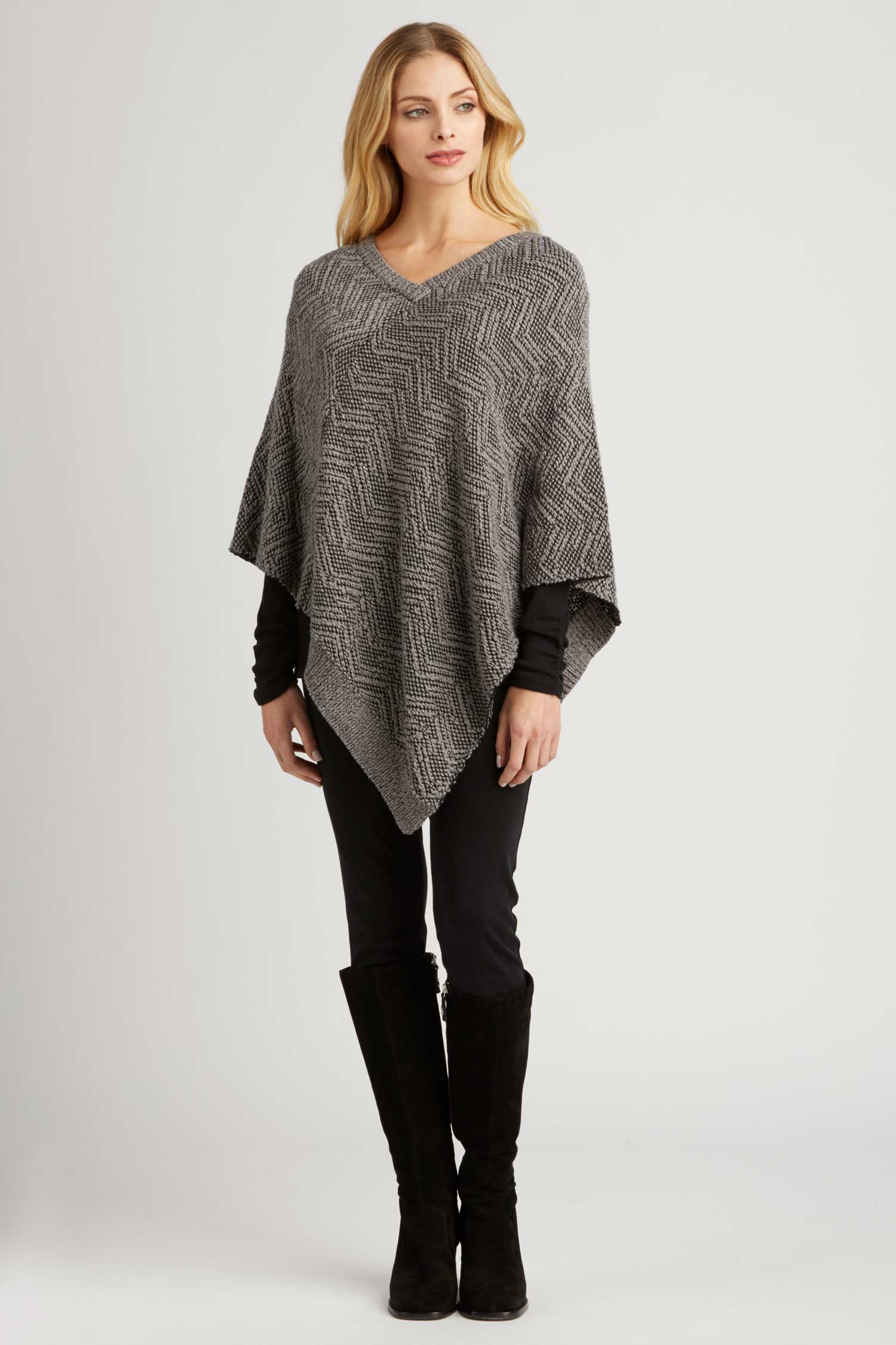 Womens Knit Poncho in Organic Cotton | Artisan Handknit